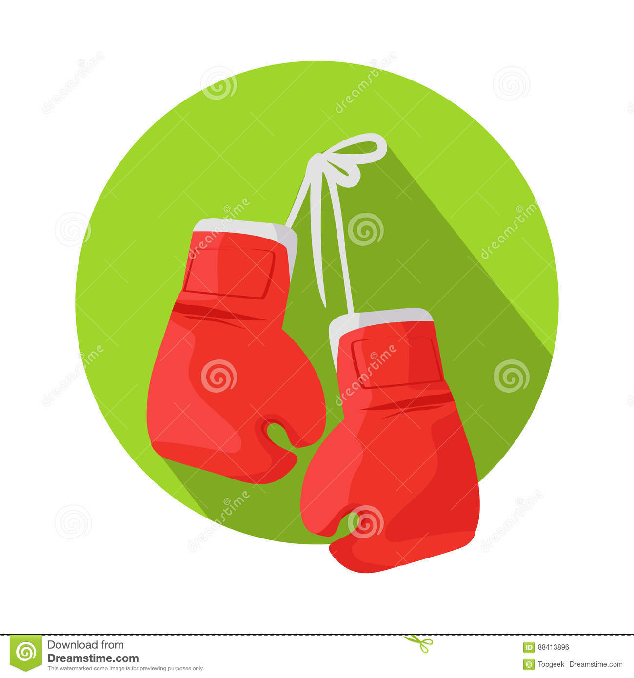 Box Vector Icon With Classic Red Boxing Gloves Stock Vector