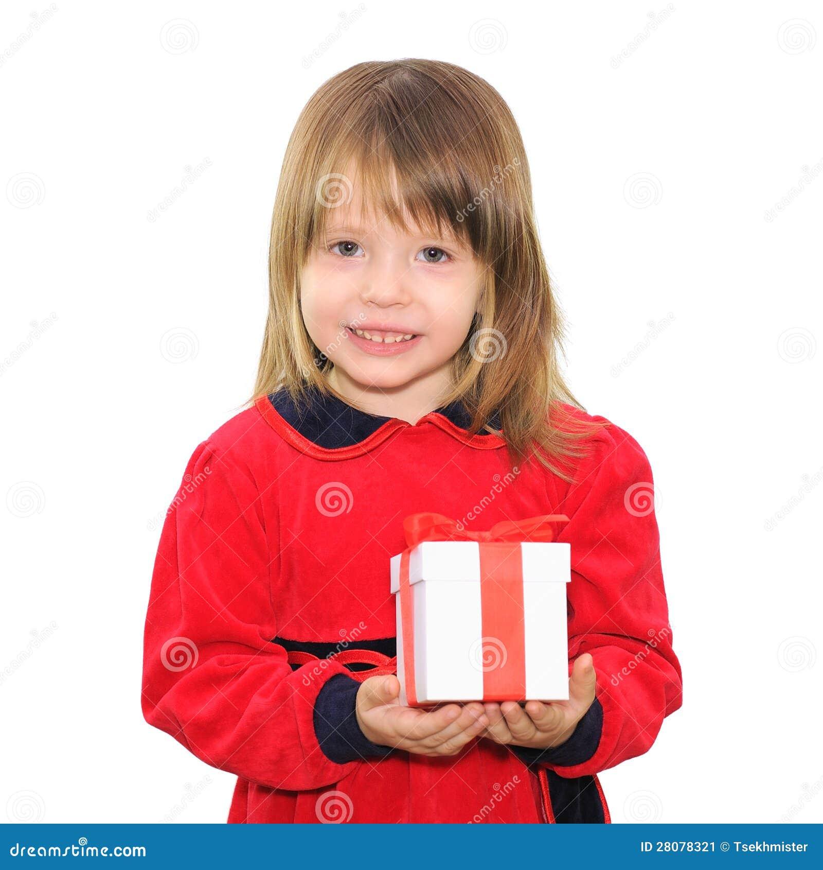 Boxas den hållande gåvan för den lyckliga barnflickan