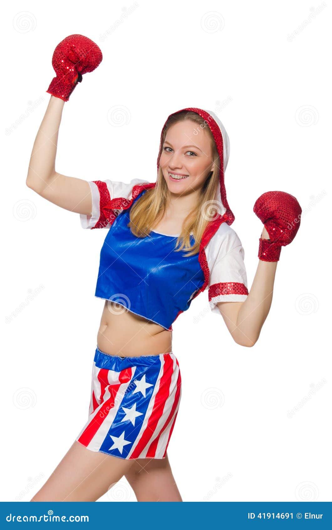 Boxeador de sexo femenino aislado