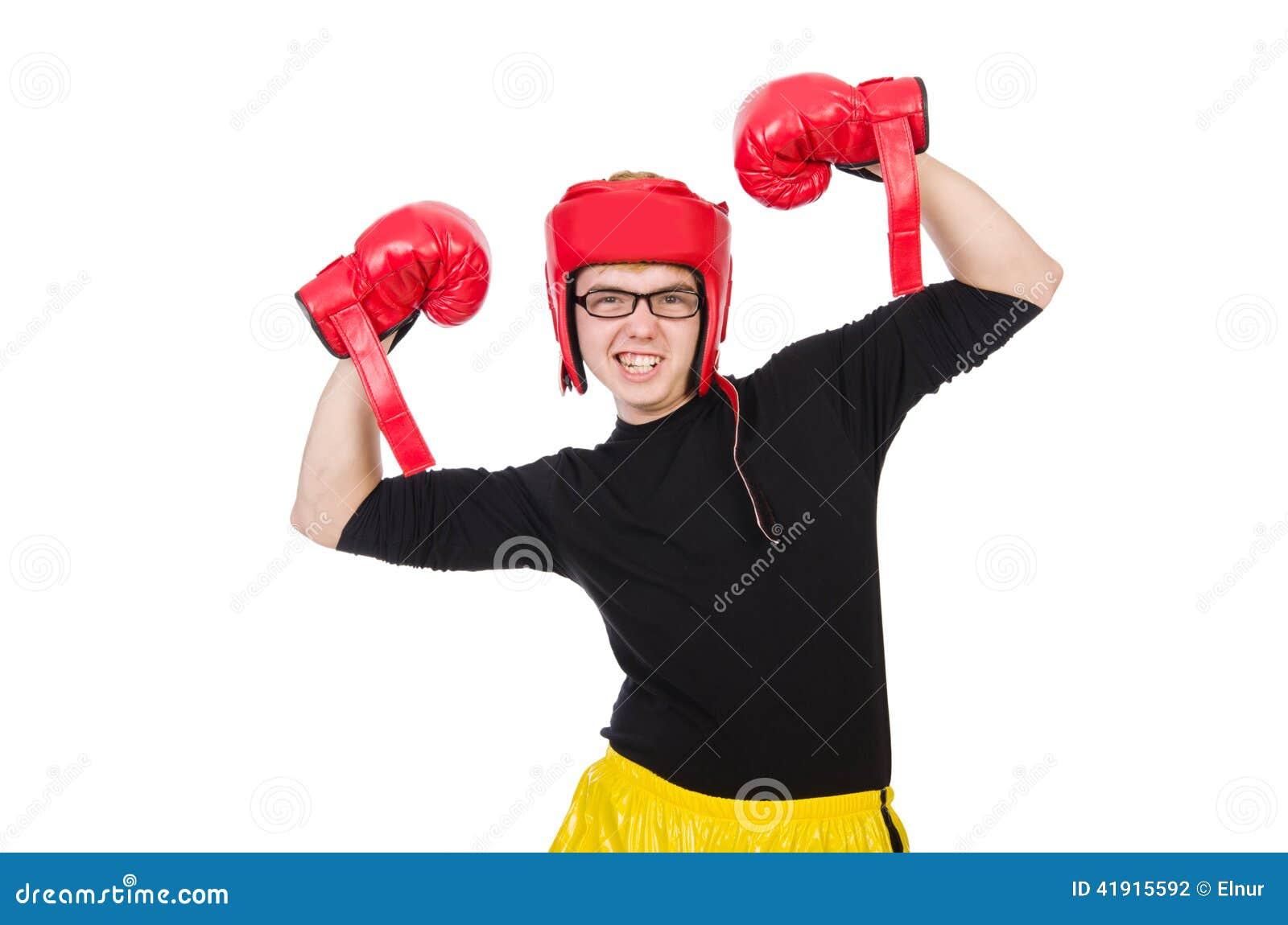 Boxeador divertido aislado