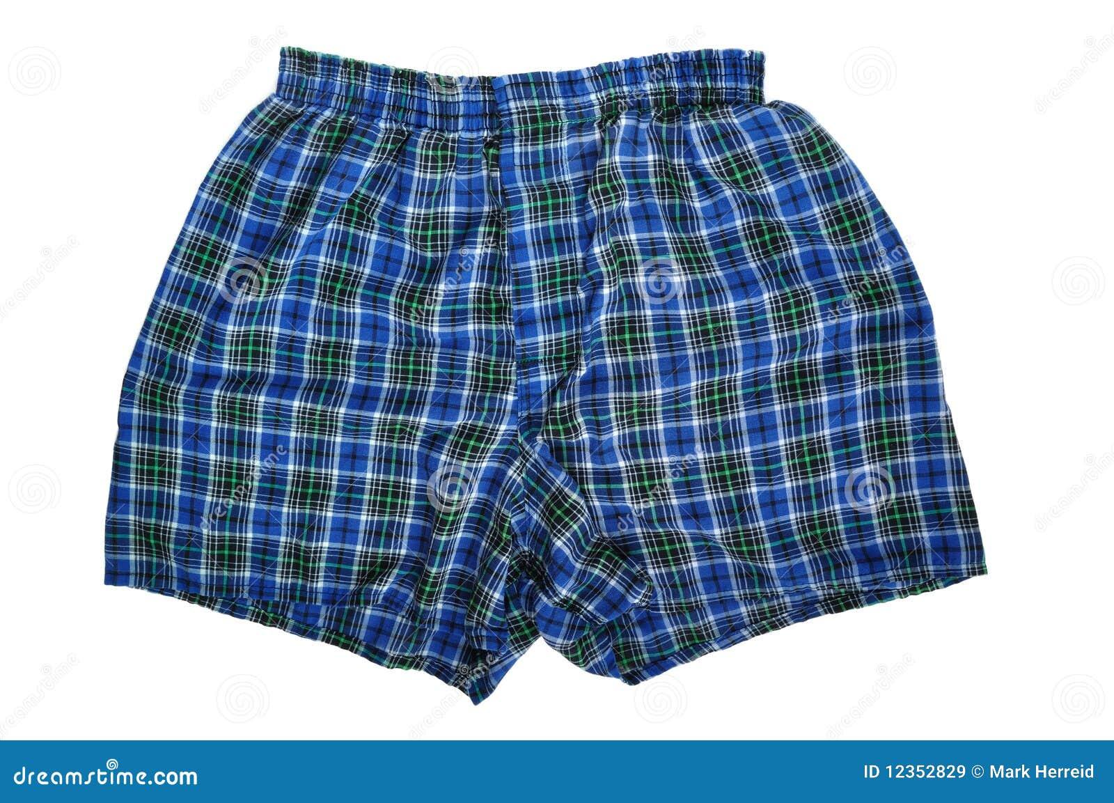 Boxeadores azules de la tela escocesa
