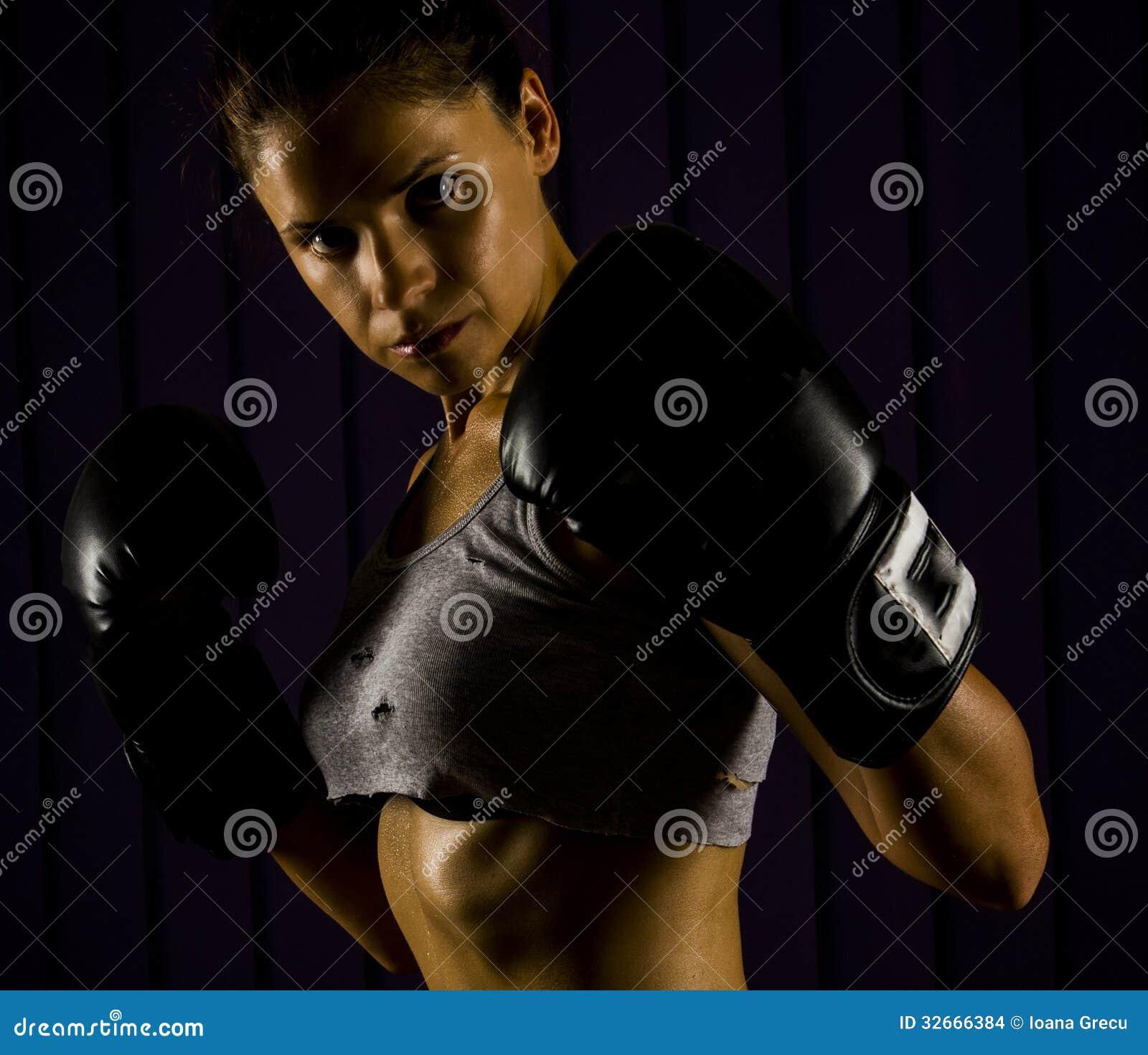 Boxen, starke Frau