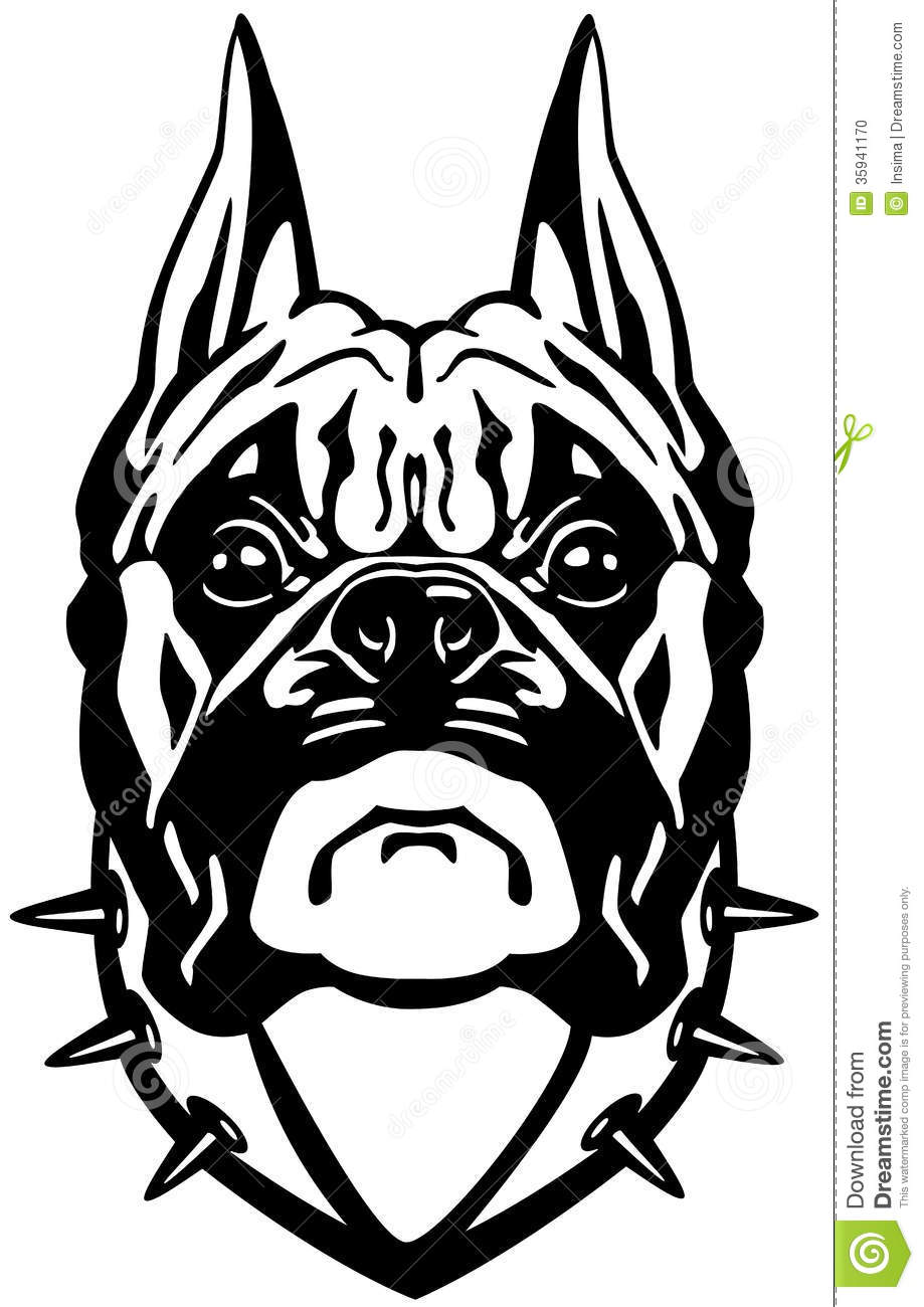 Line Drawing Of A Boxer Dog : Boxer dog head stock vector illustration of view