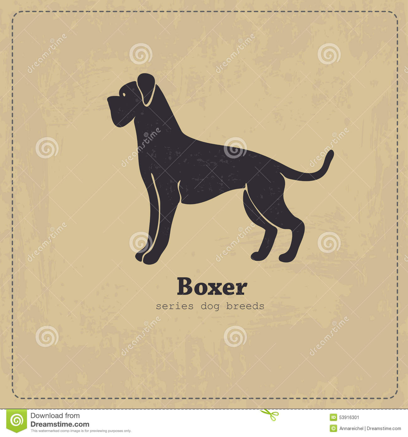 Boxer Dog Silhouette Stock Vector Image 53916301