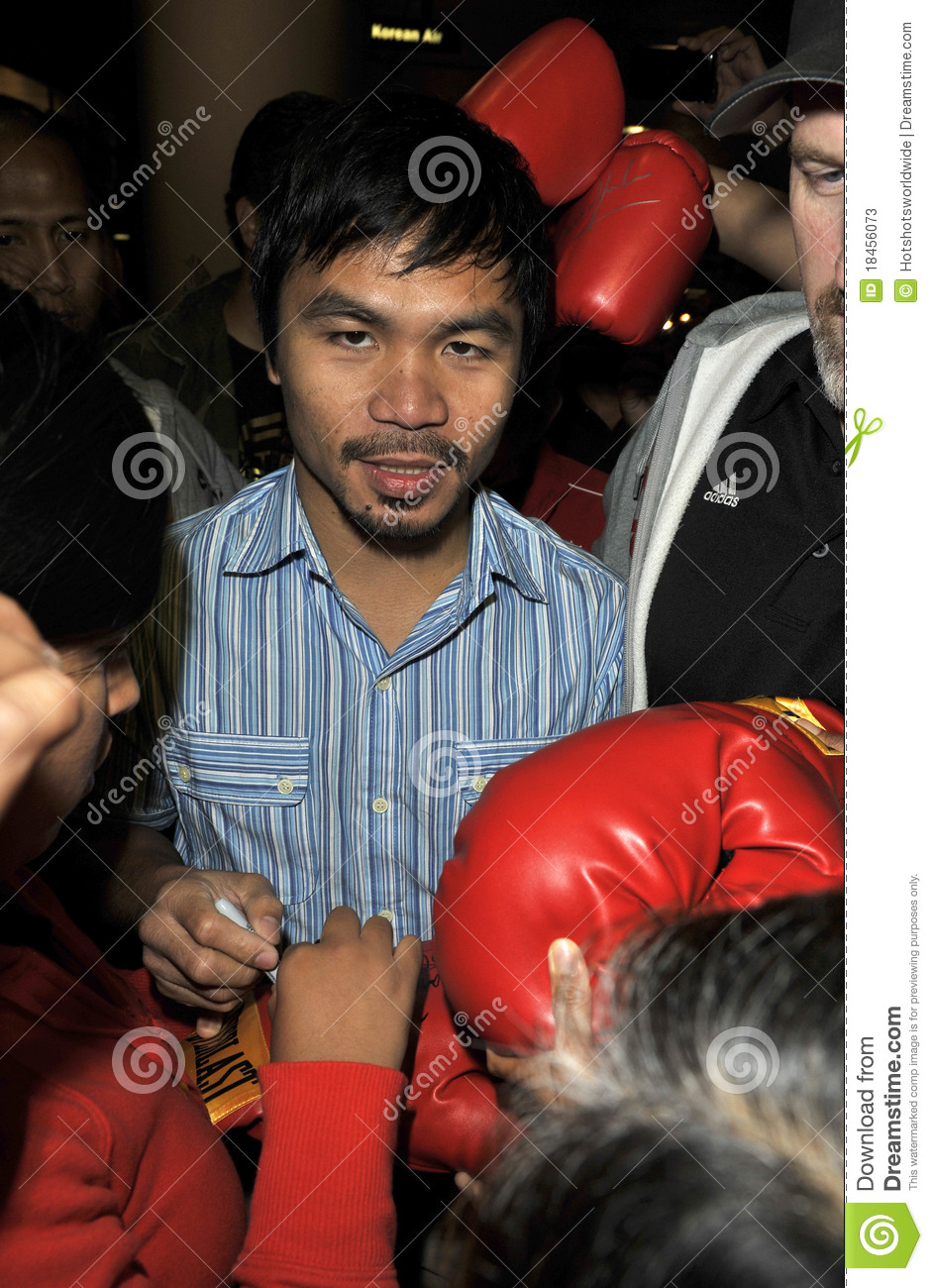 Boxer Manny Pacquiao is seen at LAX .