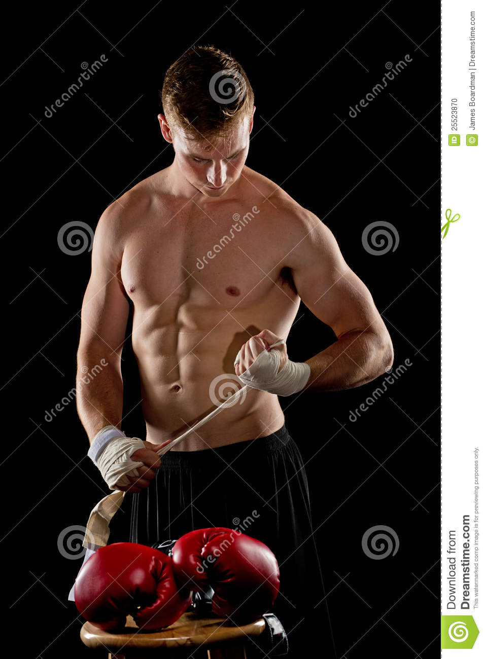 Boxer preparing for the fight