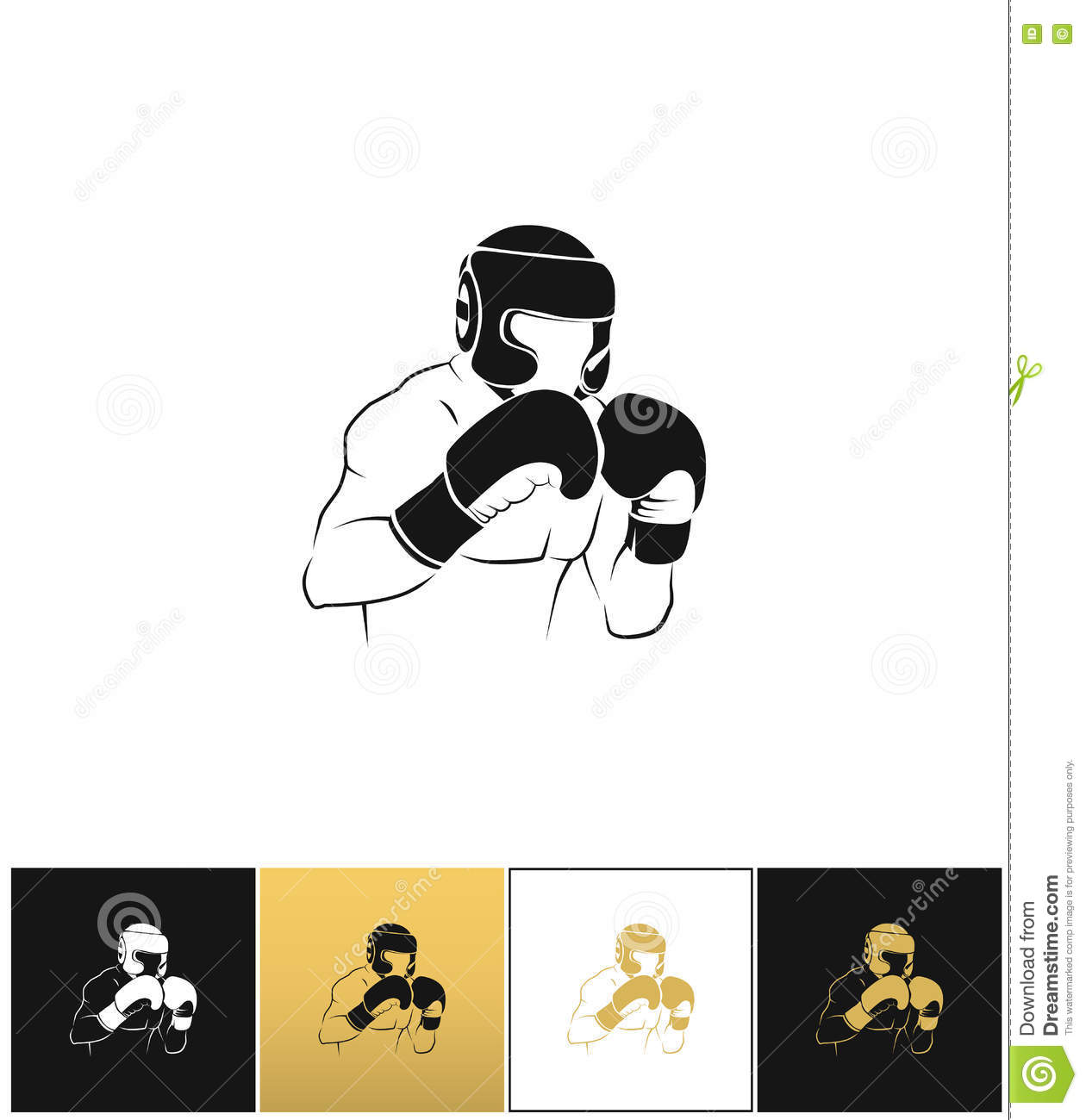 Boxer silhouette or boxing combat vector icon