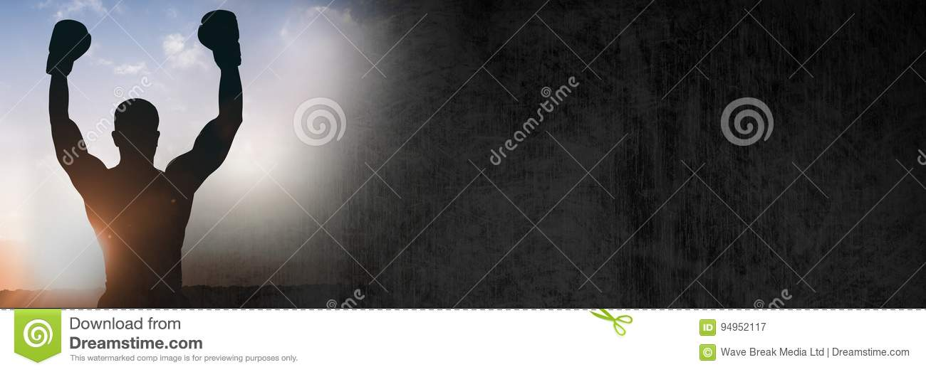 Download Boxer Silhouette Celebrating In Arena With Grunge Transition Stock Image - Image of horizon, boxing: 94952117