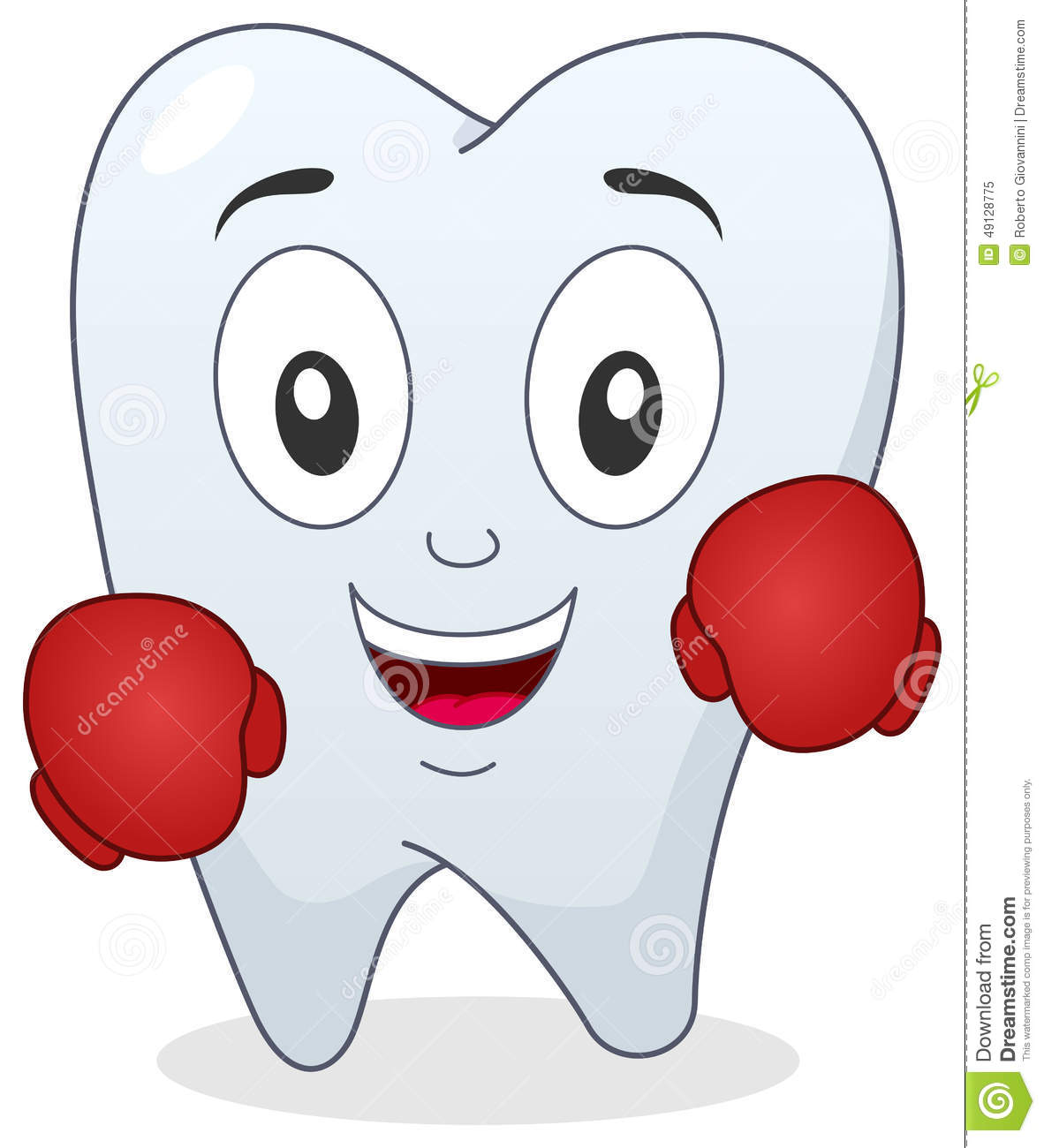 1 Toothed Cartoon Characters : Boxer tooth character with boxing gloves stock vector