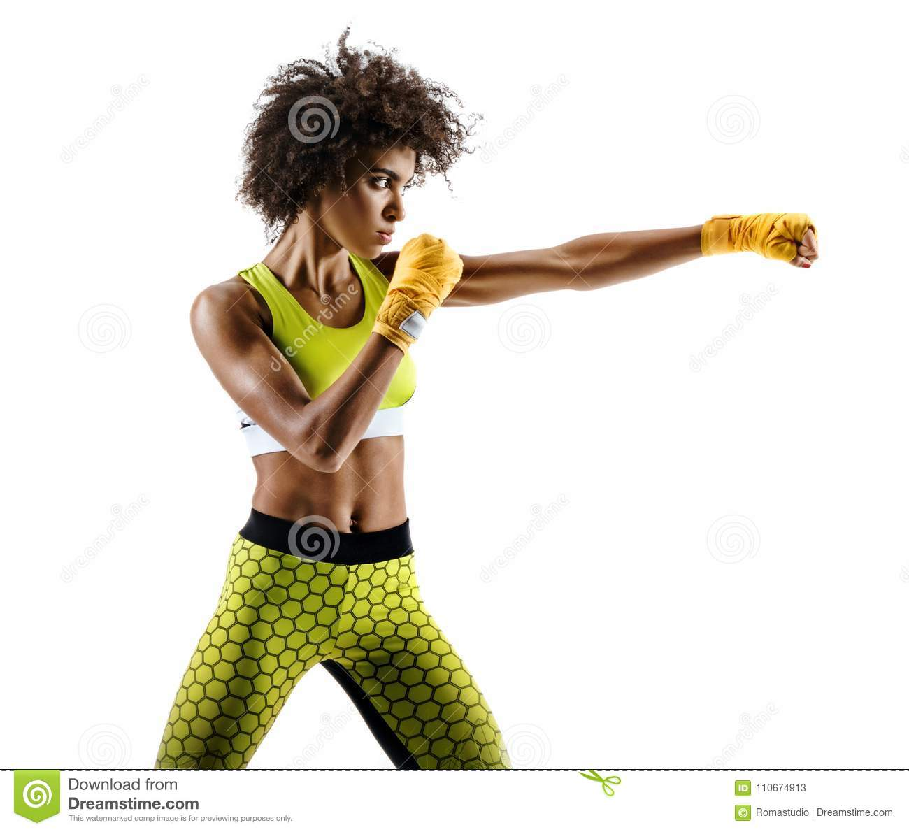 Boxer woman making direct hit on white background