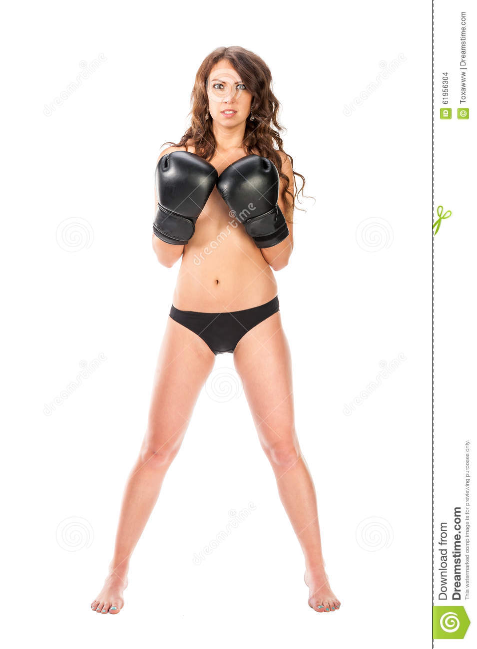 Boxer Young Girl Poses In The Studio With Boxing Gloves