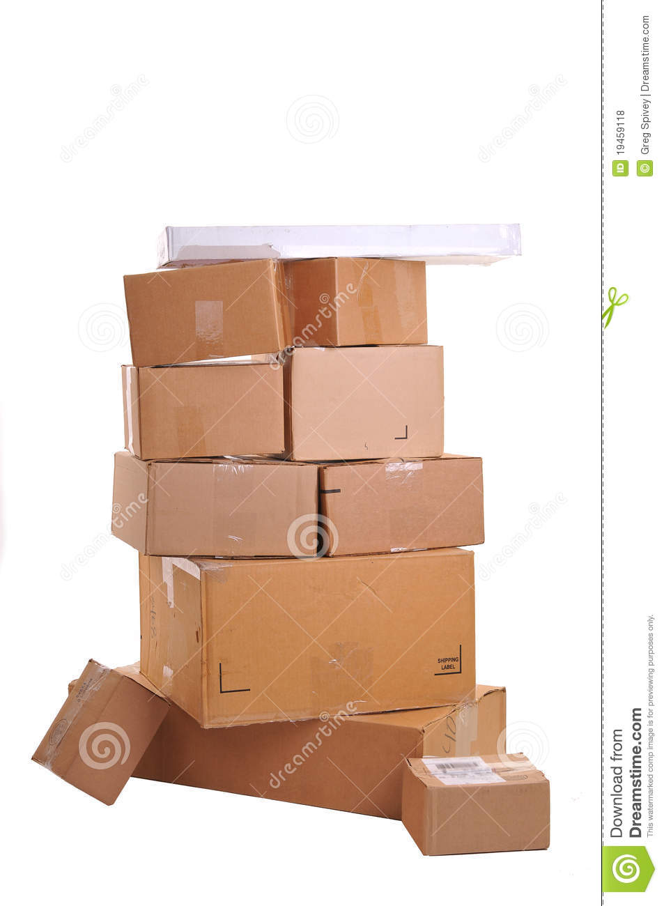 Boxes Carelessly Stacked On Top Of Each Other Stock Photo