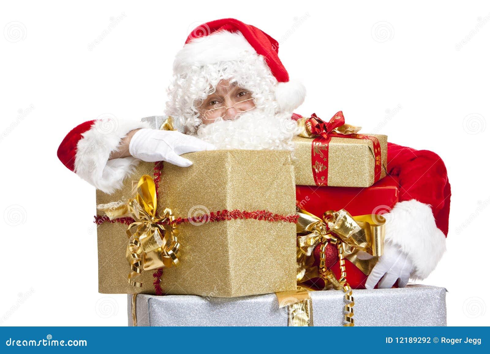 Boxes den julclaus gåvan som lutar santa