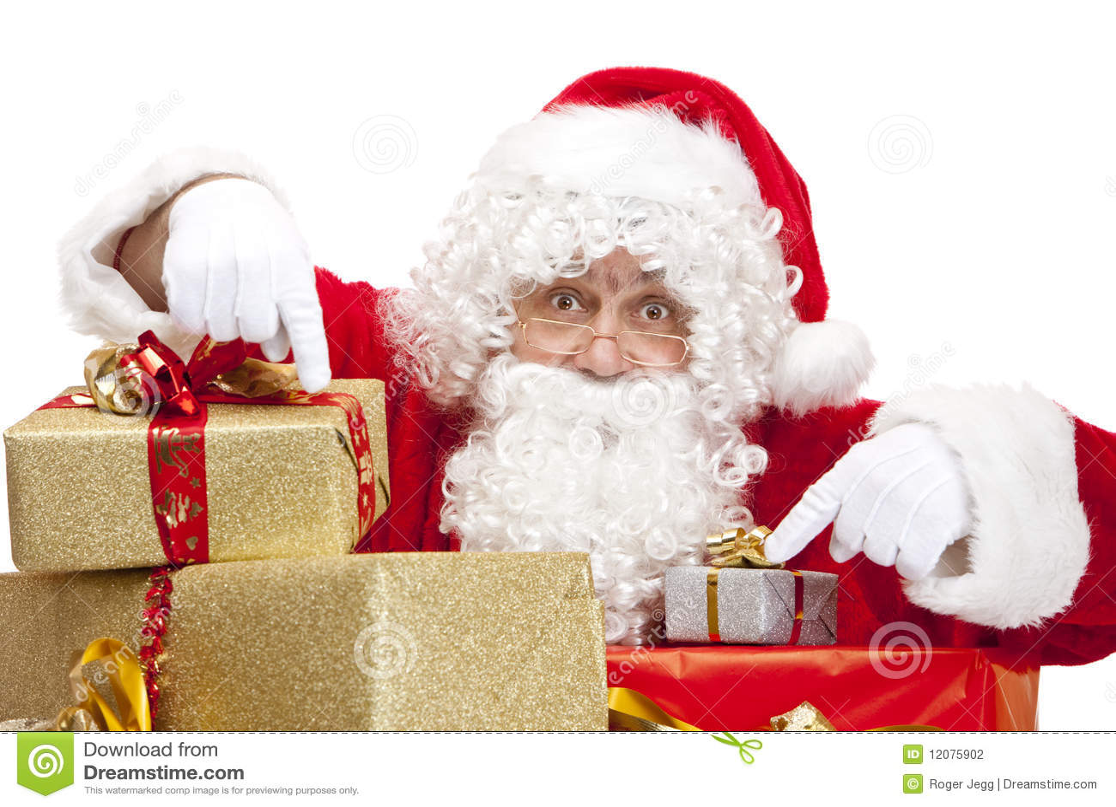 Boxes den julclaus gåvan som pekar santa