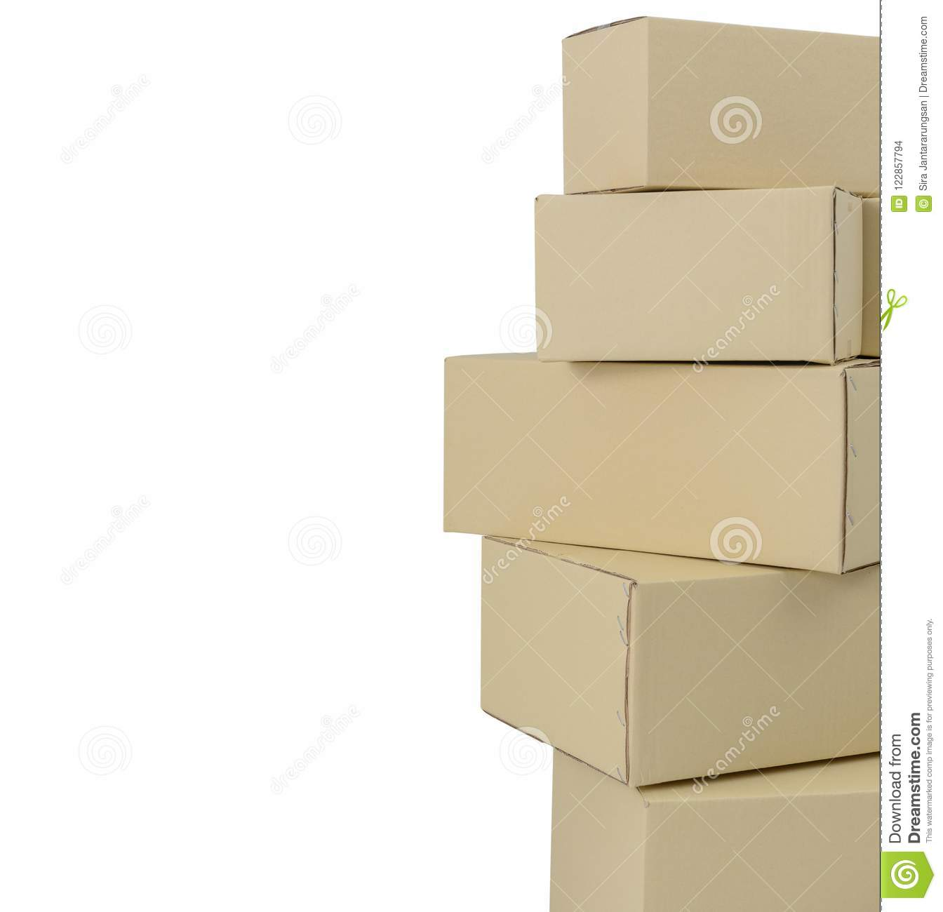boxes in different sizes stacked boxes isolated on white backgro