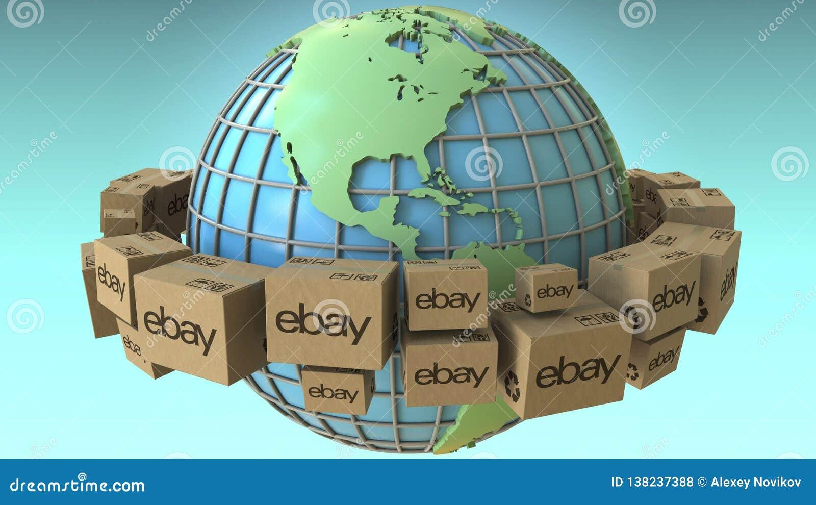Map Of America Ebay.Boxes With Ebay Logo Around The World America Emphasized