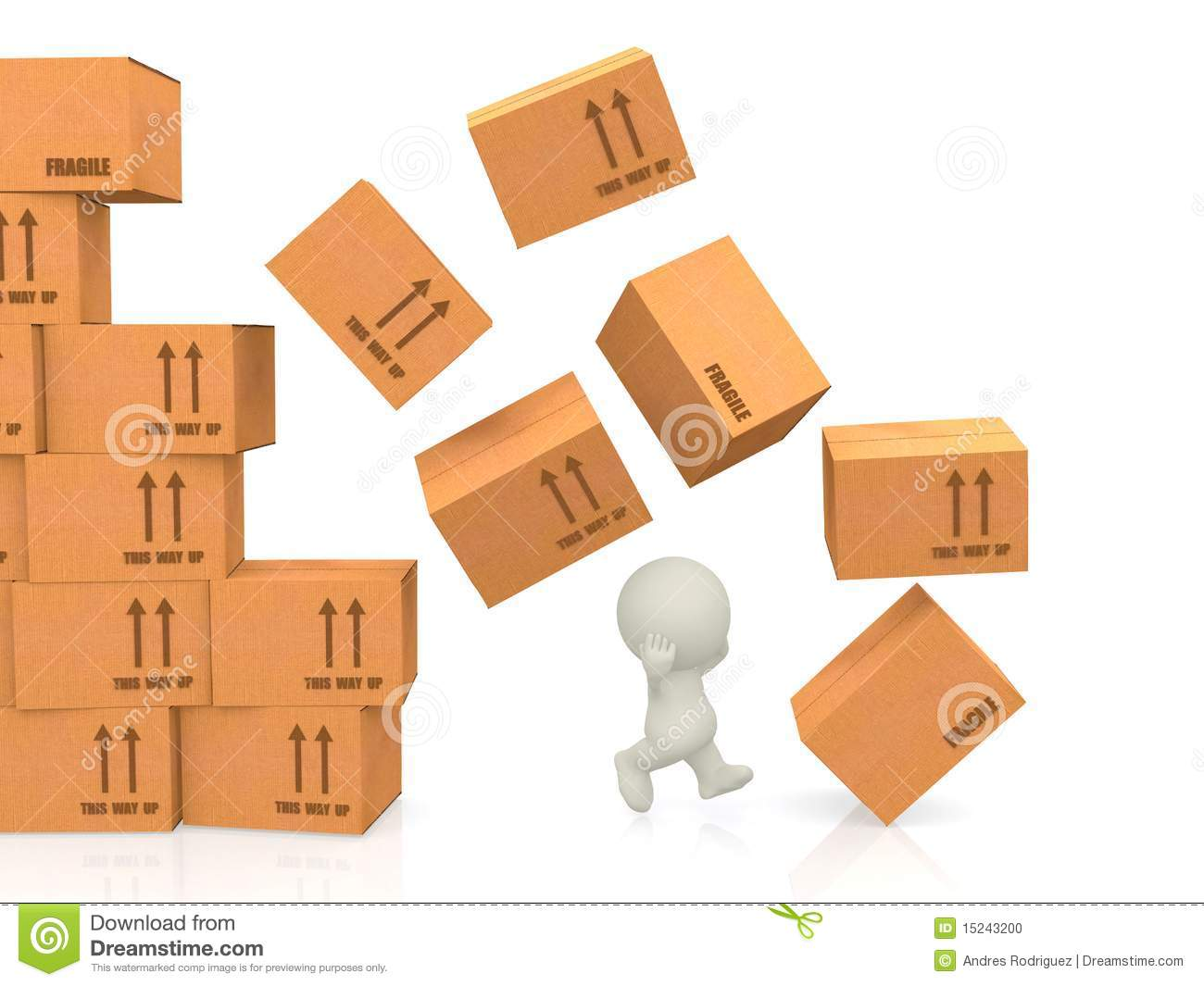 Boxes Falling On A Guy Stock Illustration Image Of House
