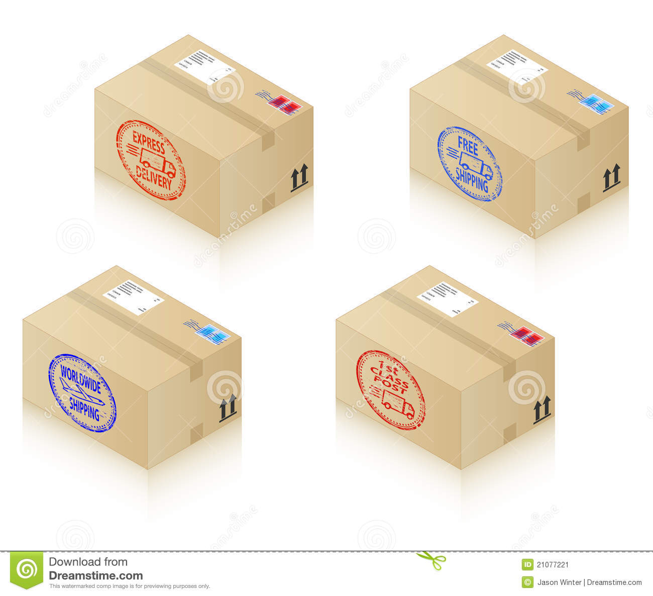 Download Boxes with shipping stamps stock vector. Illustration of parcel - 21077221