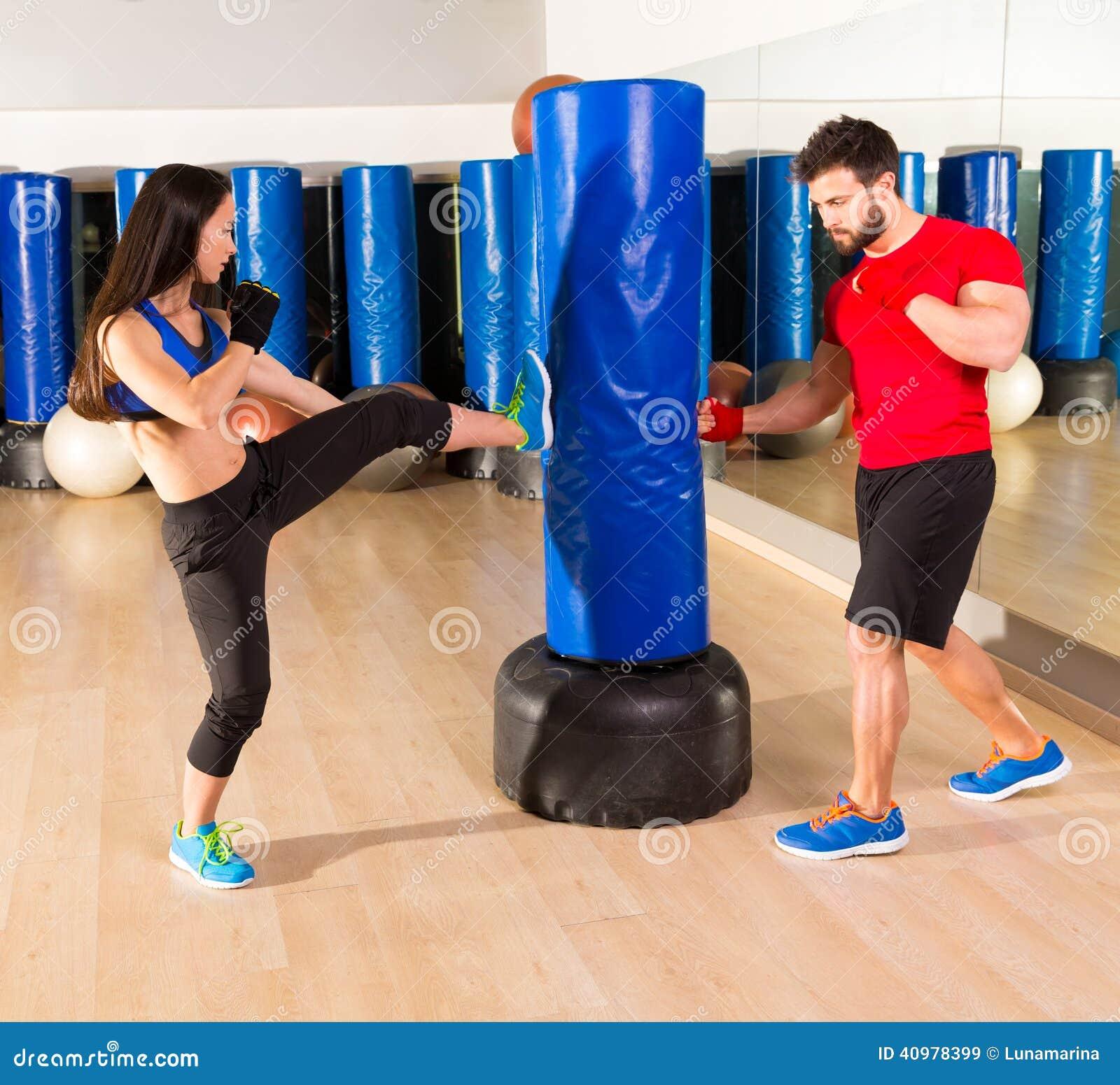 Boxing Aerobox Couple Training At Ftness Gym Stock Photo ...