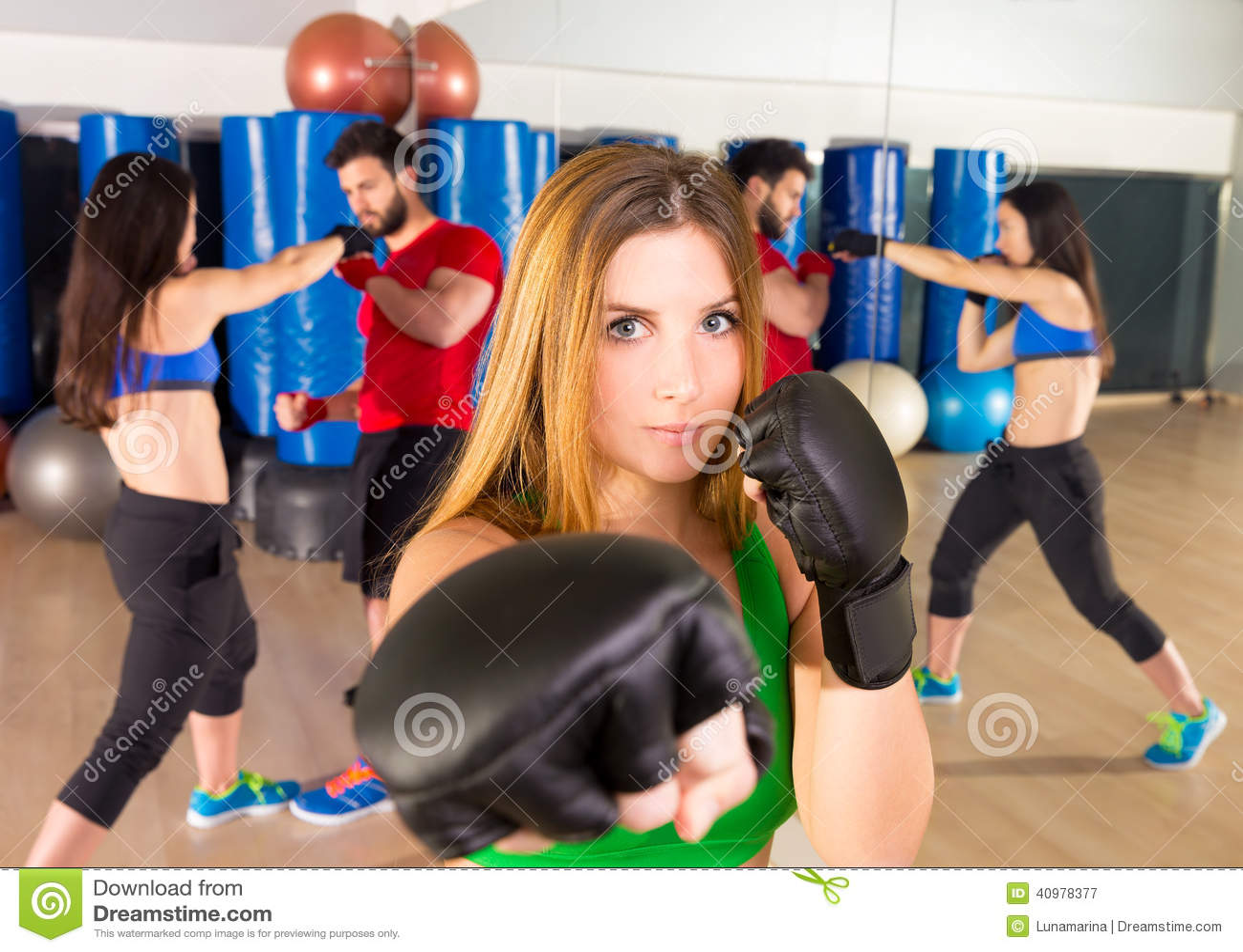 Boxing Aerobox Woman Portrait In Fitness Gym Stock Photo ...