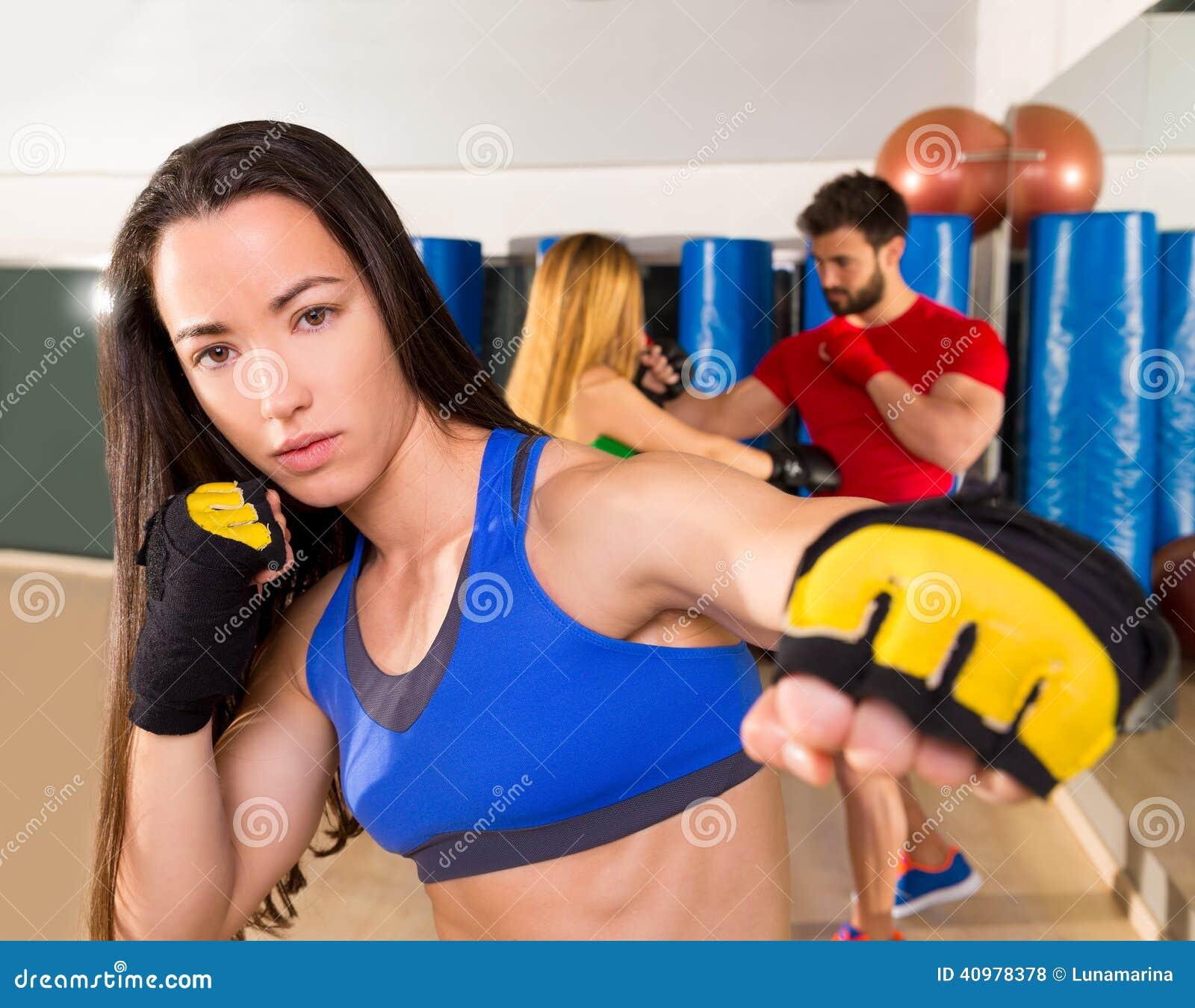 Boxing aerobox woman portrait in fitness gym