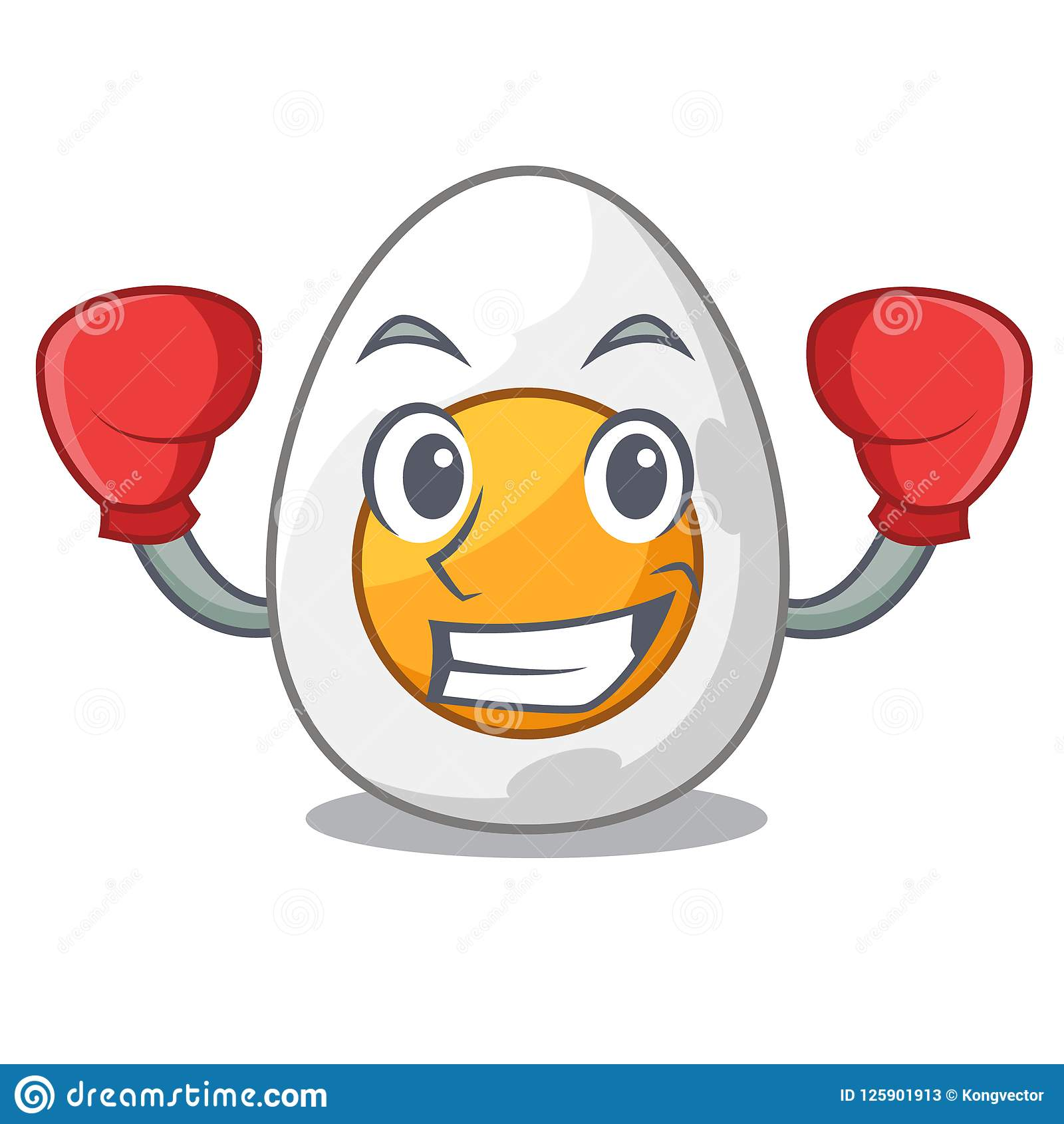 Boxing cartoon boiled egg sliced for breakfast