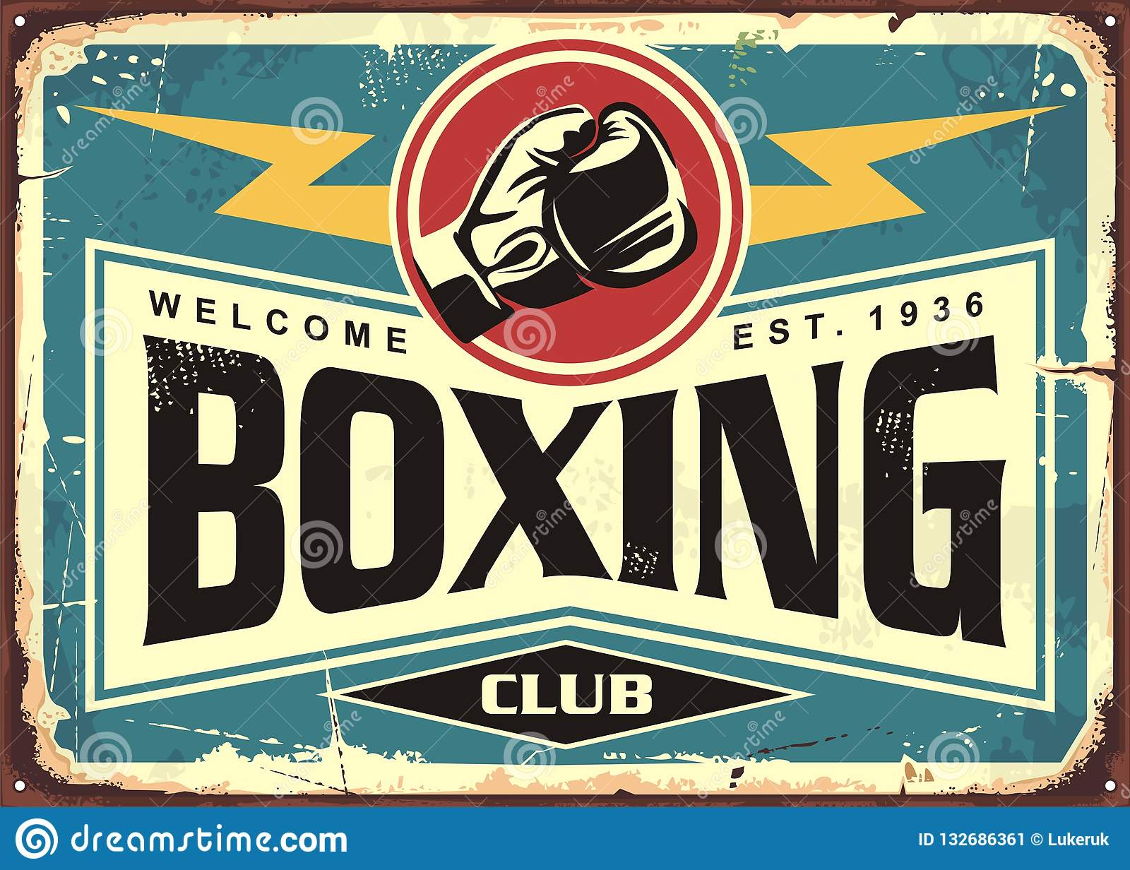 Boxing club retro tin sign template design