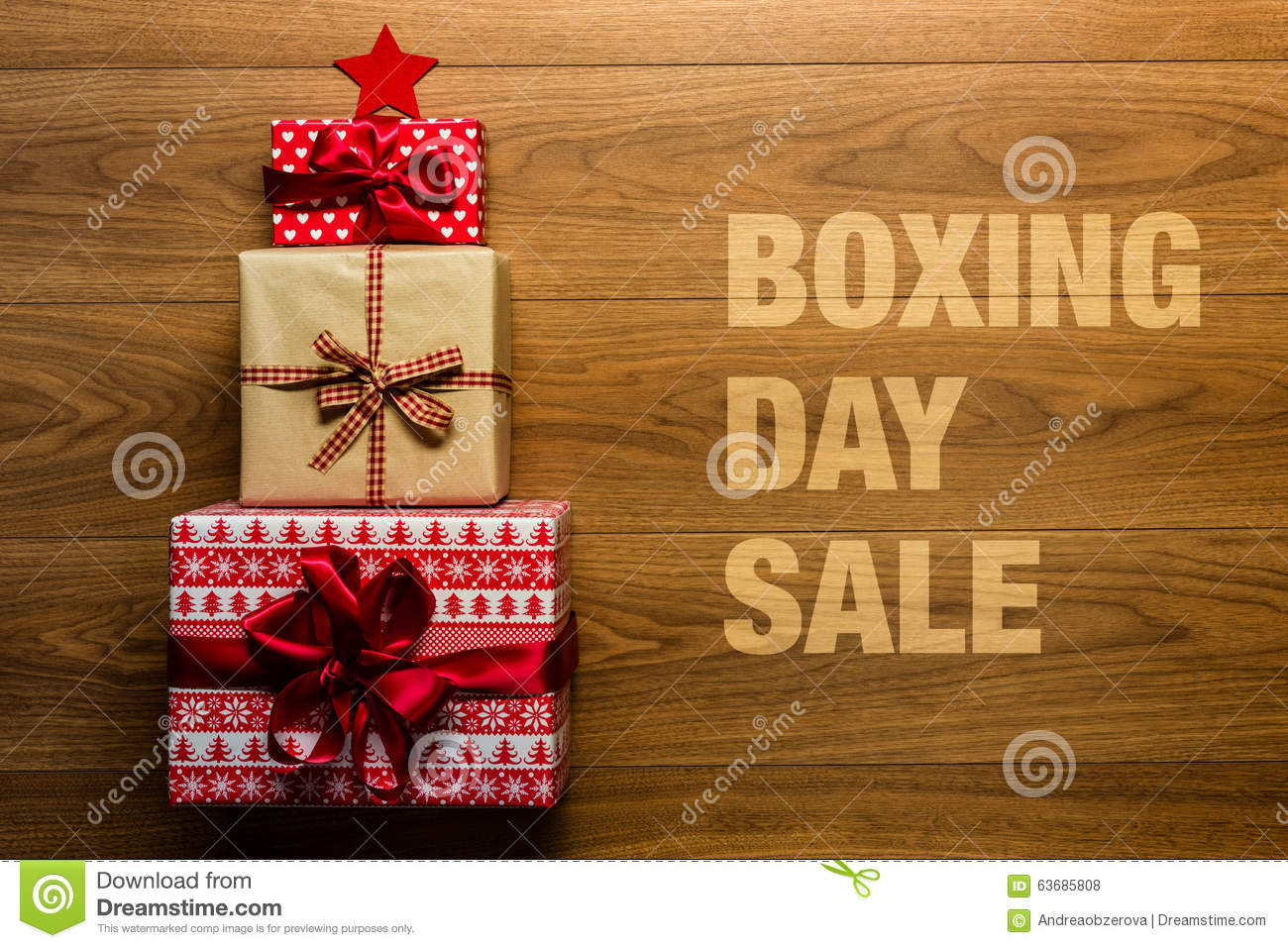 Boxing Day Sale Concept On Wooden Background, Stock Photo