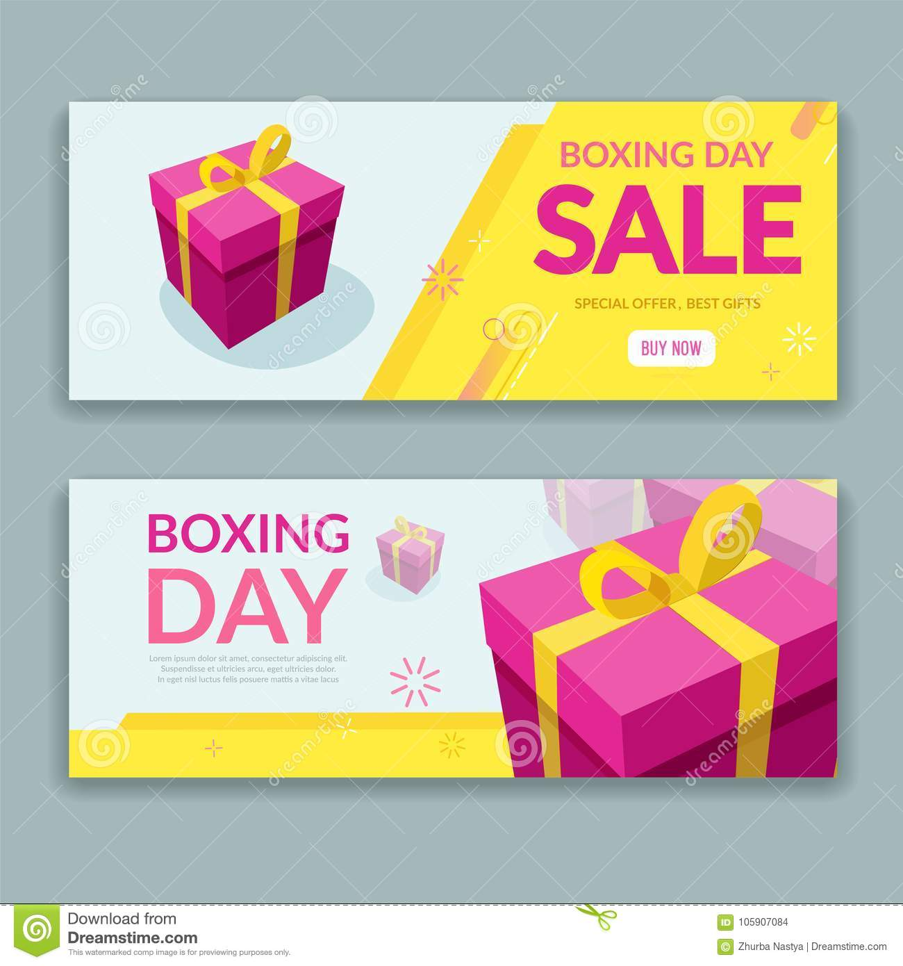 Boxing Day Sale Design With Colorful Packaged Gift Box Stock Vector