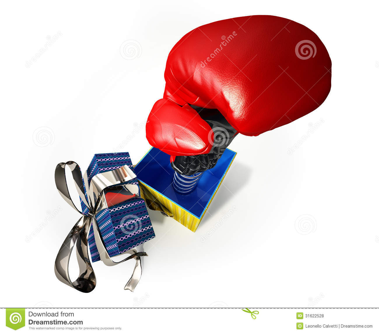 Boxing Glove Coming Out Of A Gift Box. Fake Present For Joke. Royalty ...