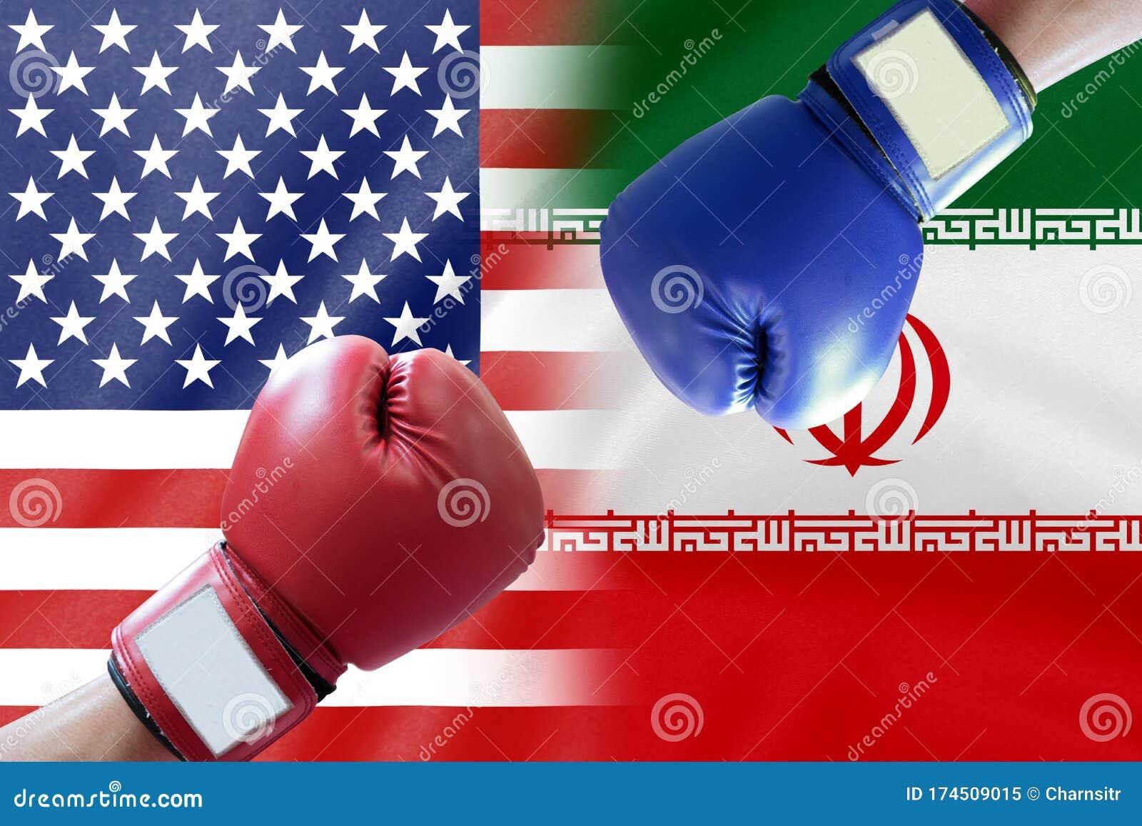 Boxing Glove On Half US Half Iran Flag Stock Image - Image of emblem,  folds: 174509015