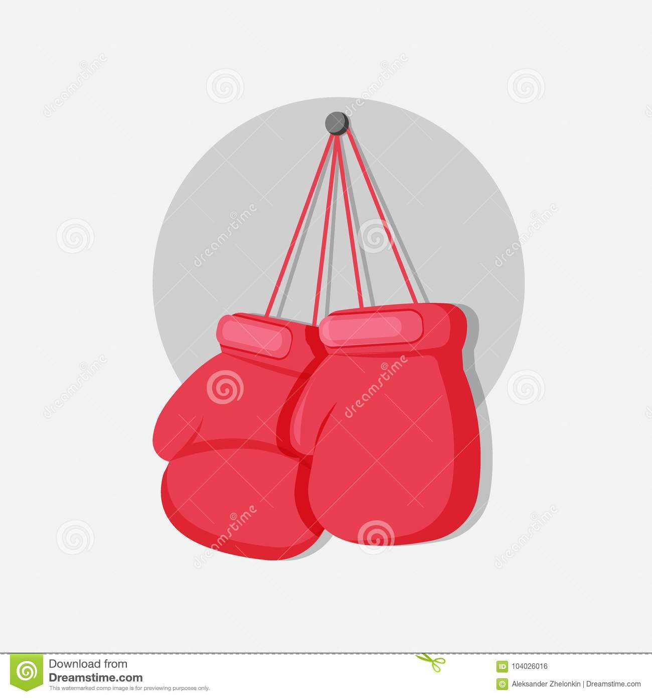 boxing gloves hanging on a nail vector illustration template for