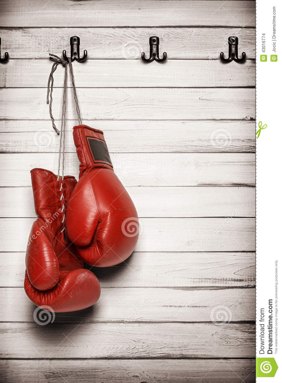 Boxing Gloves Hanging On Wooden Wall Stock Photo Image