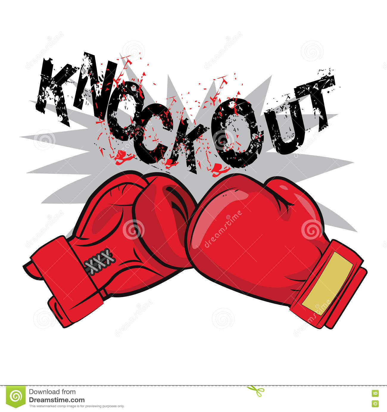 Boxing Gloves And Text Knock Out. Boxing Emblem Label Badge T-Shirt Design Boxing Fight Theme.
