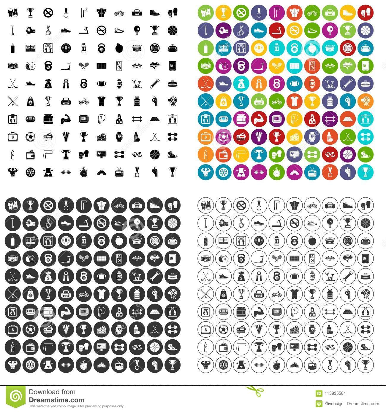 100 boxing icons set vector variant