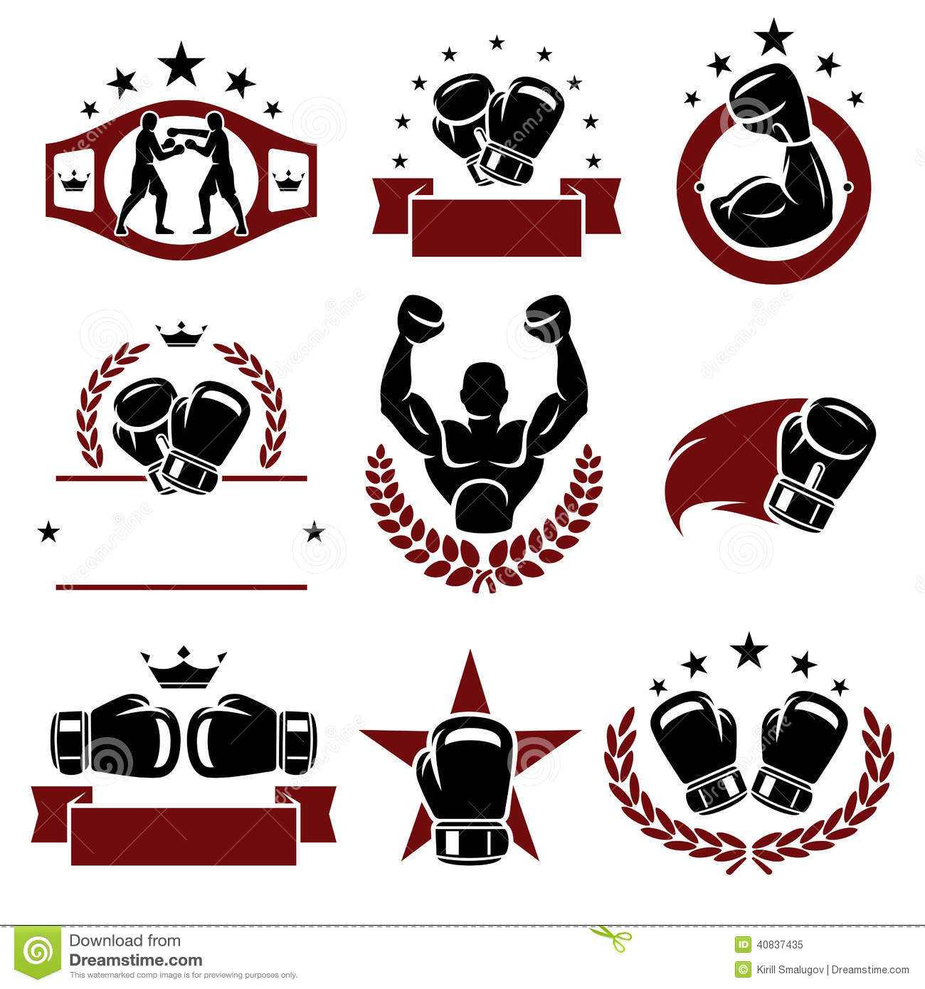 Boxing Labels And Icons Set. Vector Stock Vector - Image: 40837435