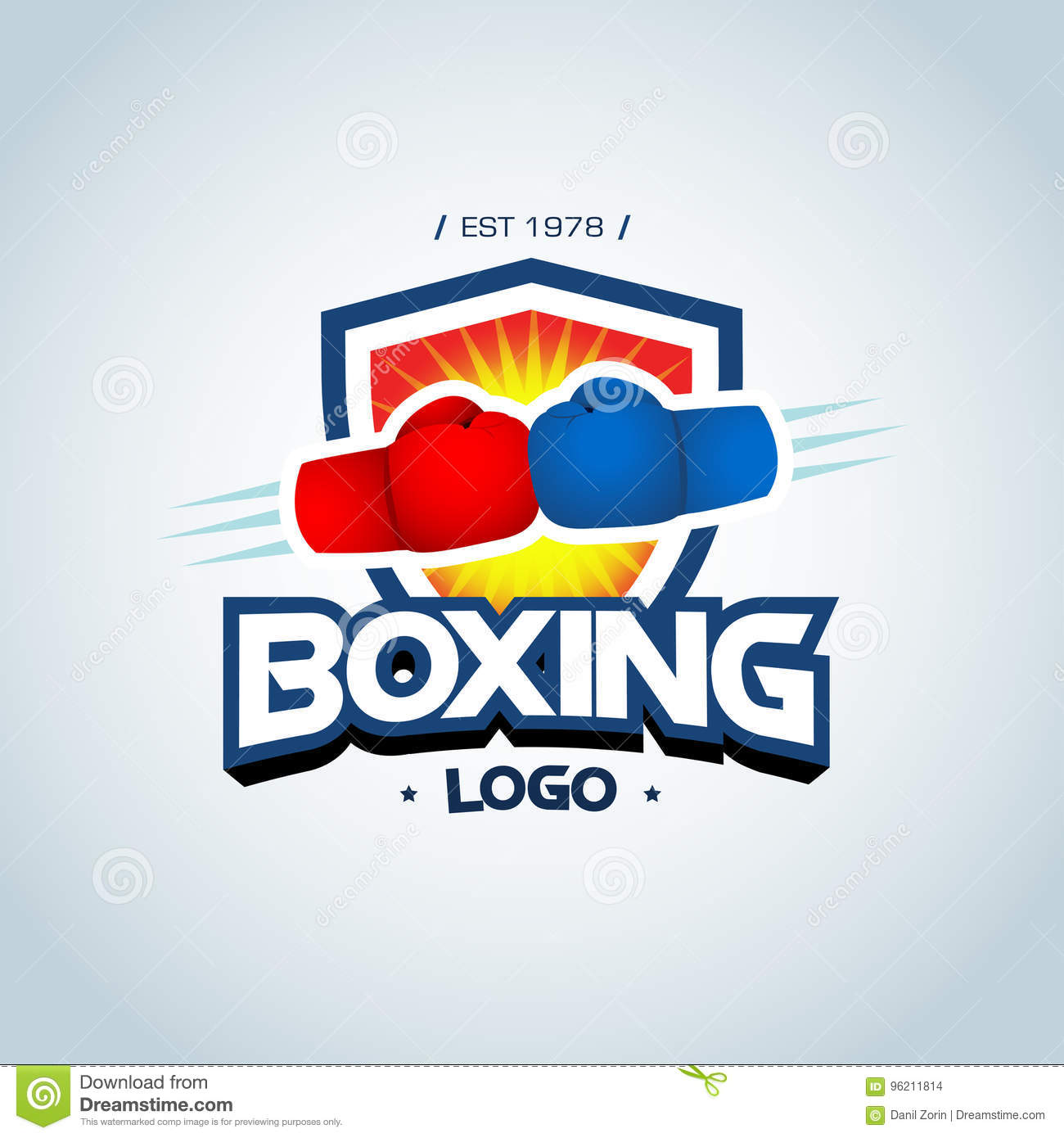 boxing logo template two boxing gloves in red and blue colors
