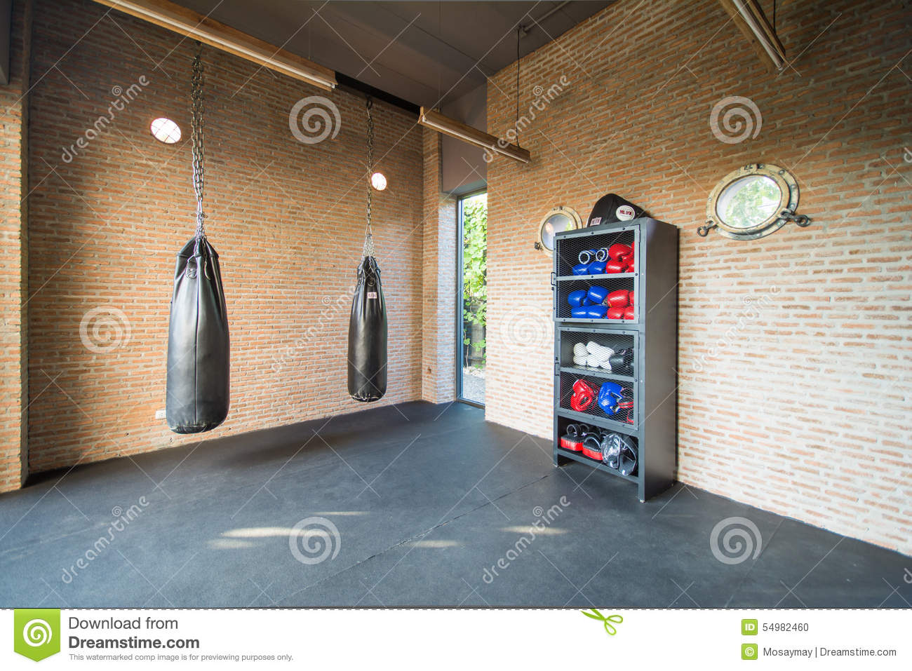 Boxing room mini gym for exercise stock photo image of strong