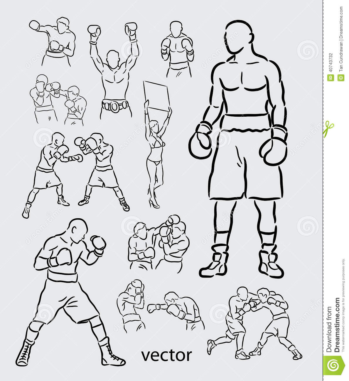 Boxing Sport Sketch Stock Vector Image 40743732