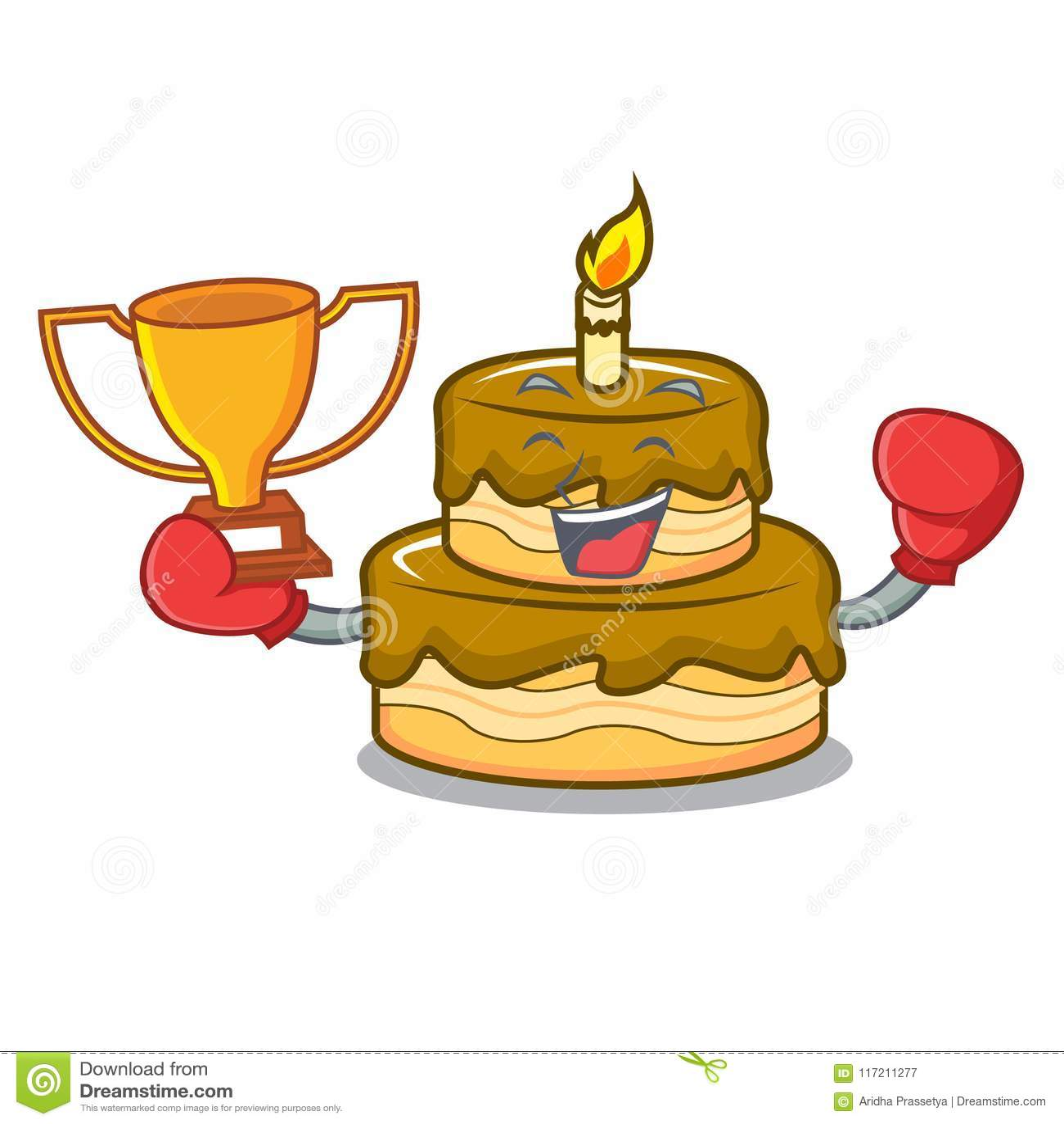 Strange Boxing Winner Birthday Cake Mascot Cartoon Stock Vector Funny Birthday Cards Online Alyptdamsfinfo