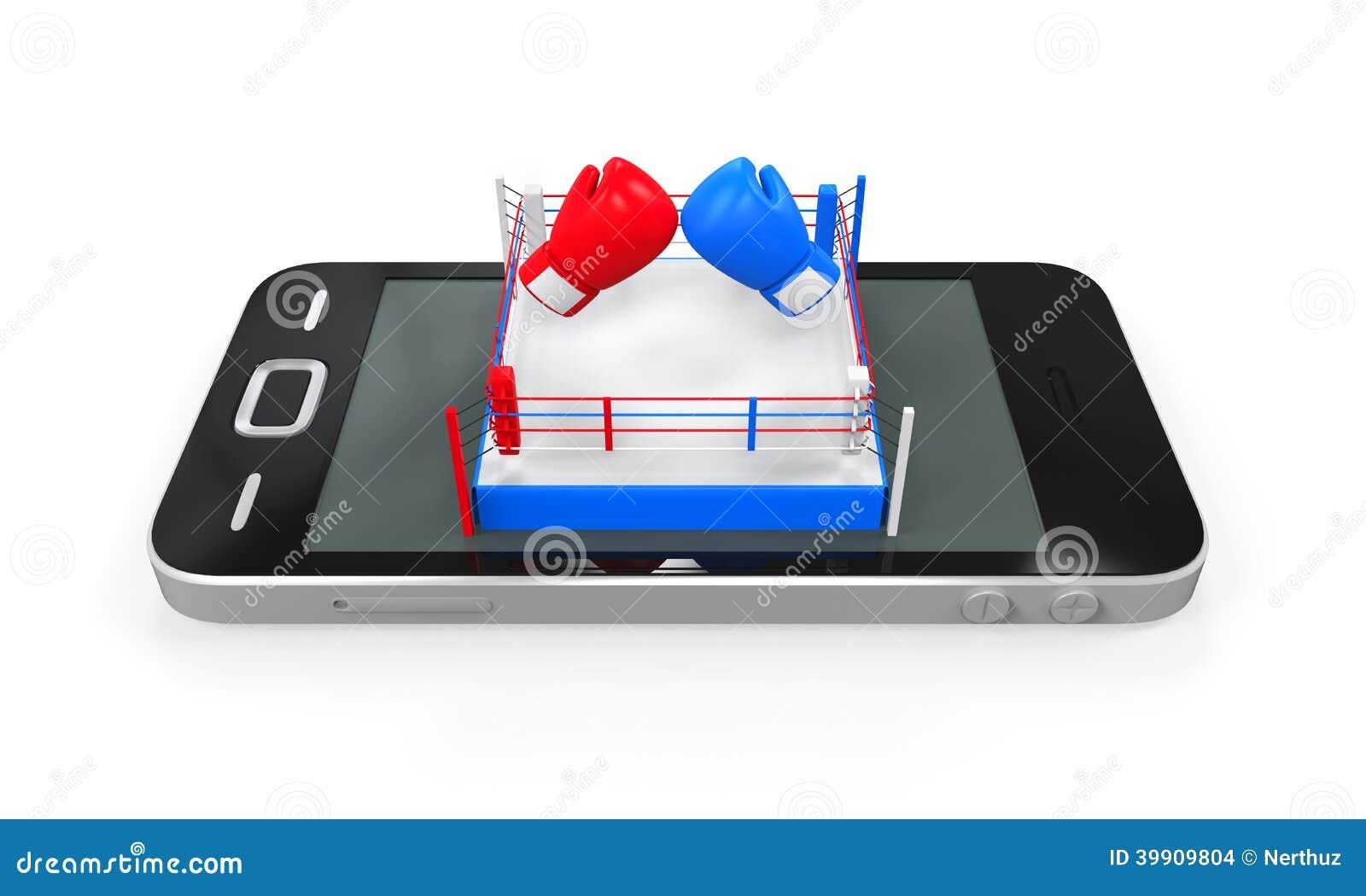 Boxningsring i mobiltelefon