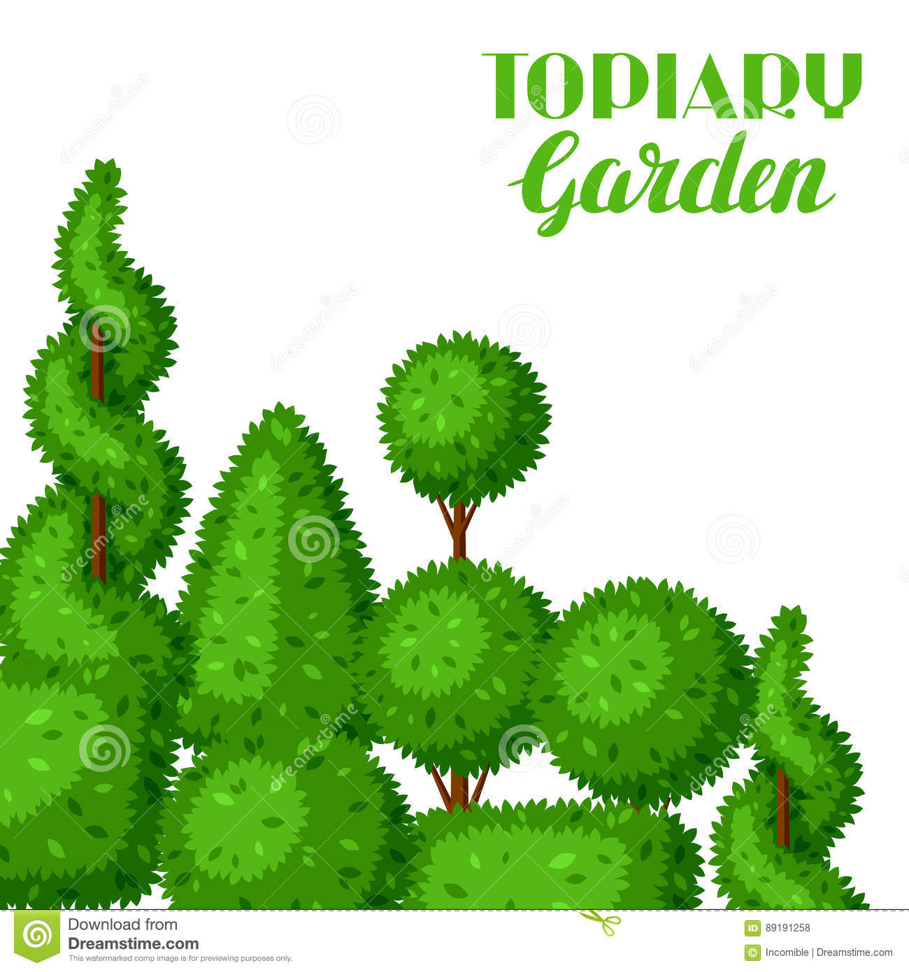 Boxwood Topiary Garden Plants Background With Decorative Trees Stock Vector Illustration Of Design Bush 89191258