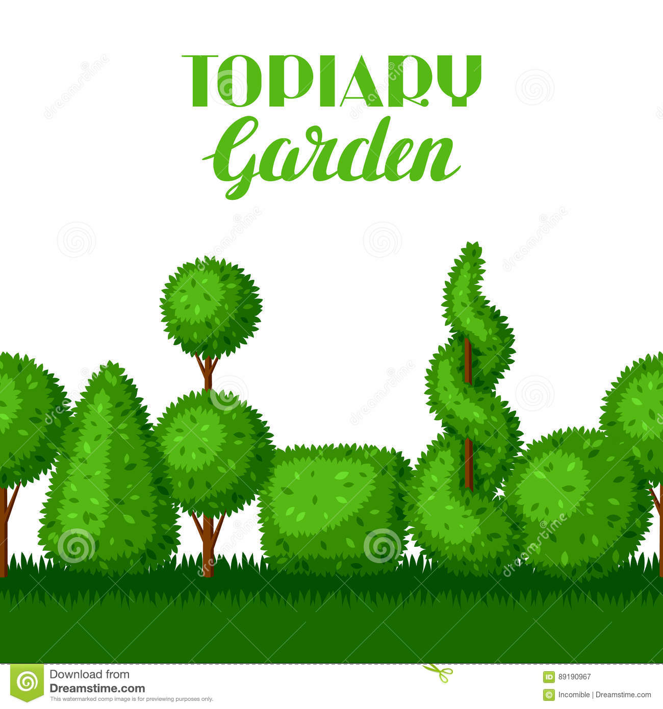 Boxwood Topiary Garden Plants Seamless Border With Decorative Trees Stock Vector Illustration Of Flora Leisure 89190967