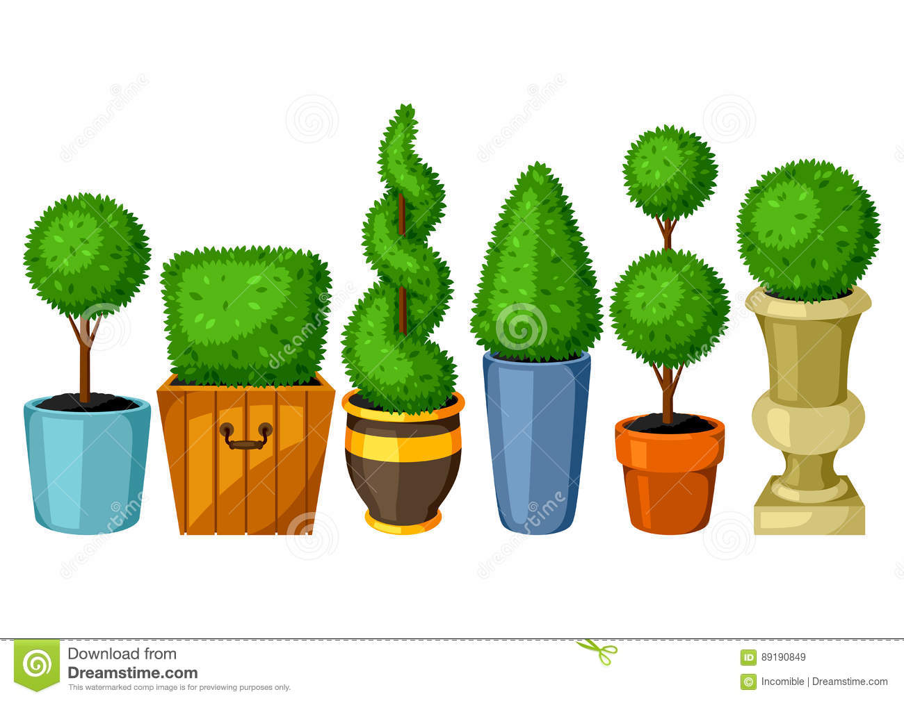 Boxwood Topiary Garden Plants Set Of Decorative Trees In Flowerpots Stock Vector Illustration Of Cutout Nature 89190849