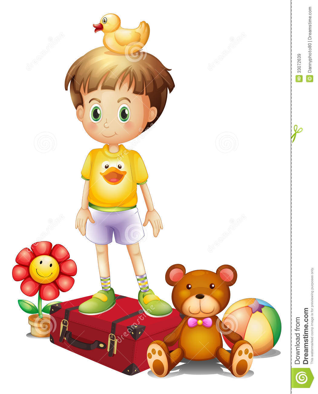 Boy Toys Background : A boy above the red box with his different toys royalty