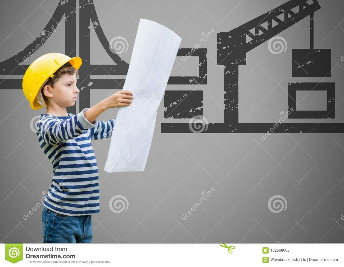 Boy against grey background with building plans blueprint and download boy against grey background with building plans blueprint and construction illustrations stock illustration illustration malvernweather Gallery