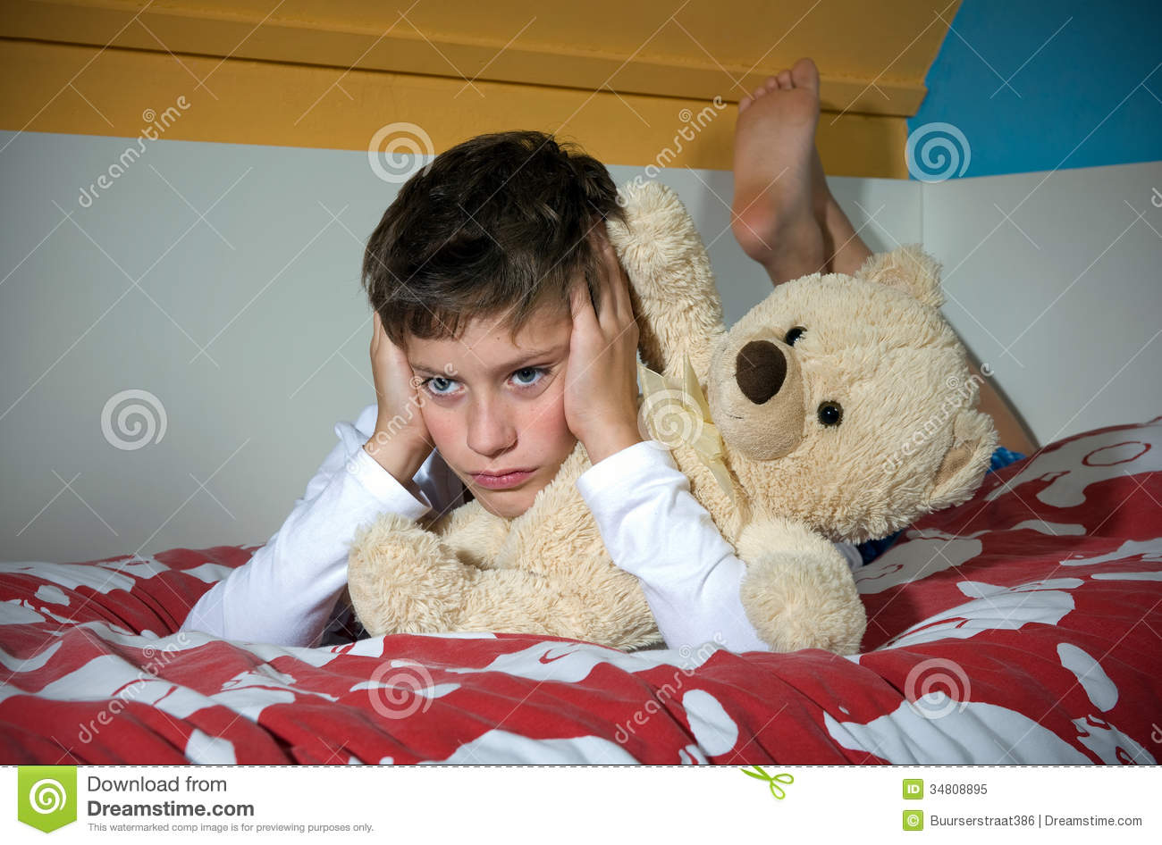 Boy Angry On Bed Royalty Free Stock Photo - Image: 34808895