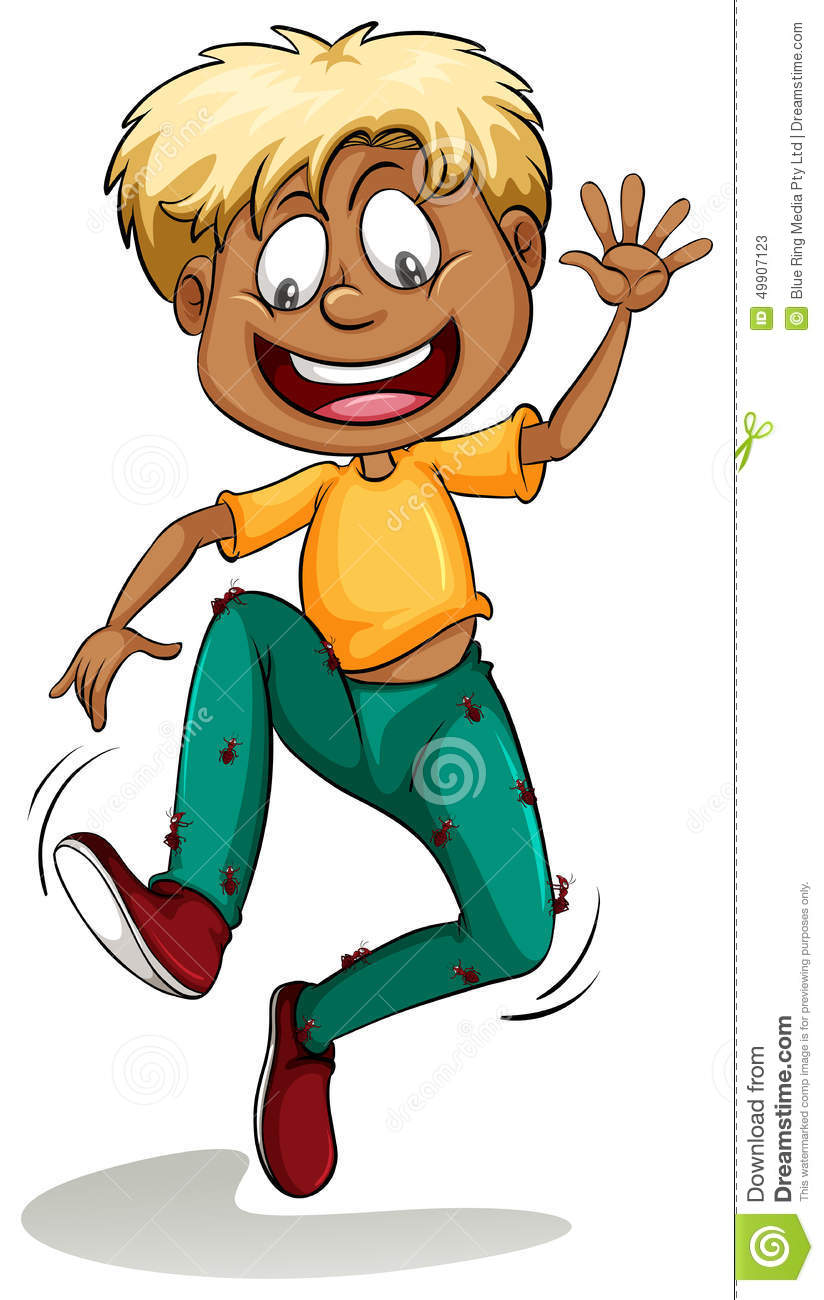 A Boy With Ants Around His Pants Stock Vector