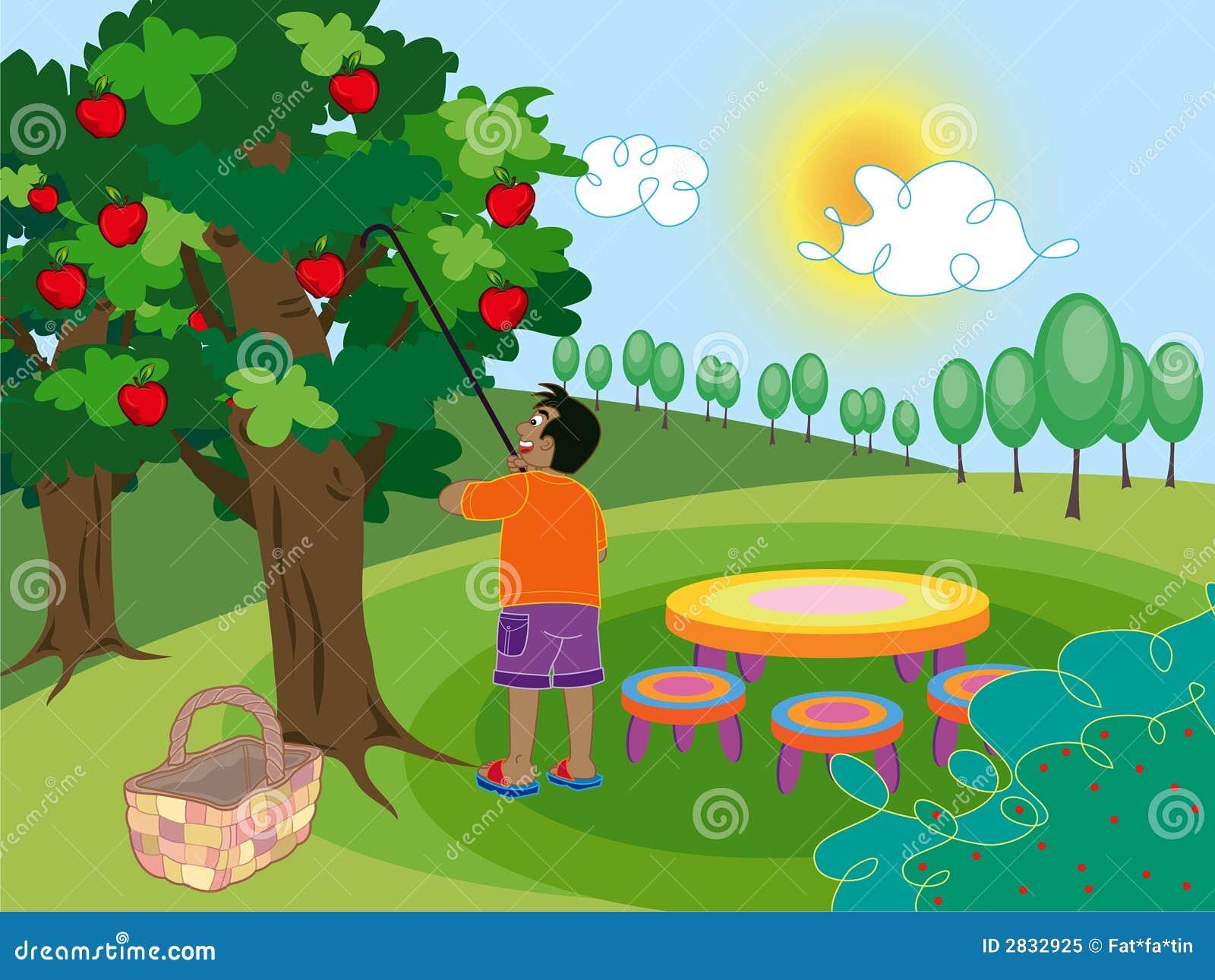 boy in apple farm stock vector image of juicy branch