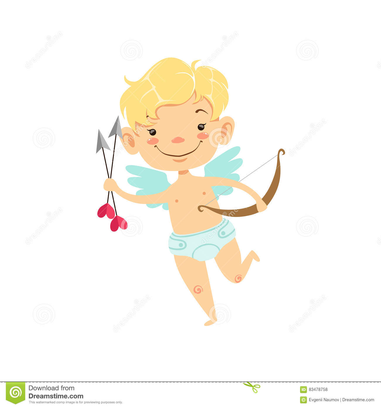 Boy Baby Cupid With Arrows And Bow Winged Toddler In Diaper